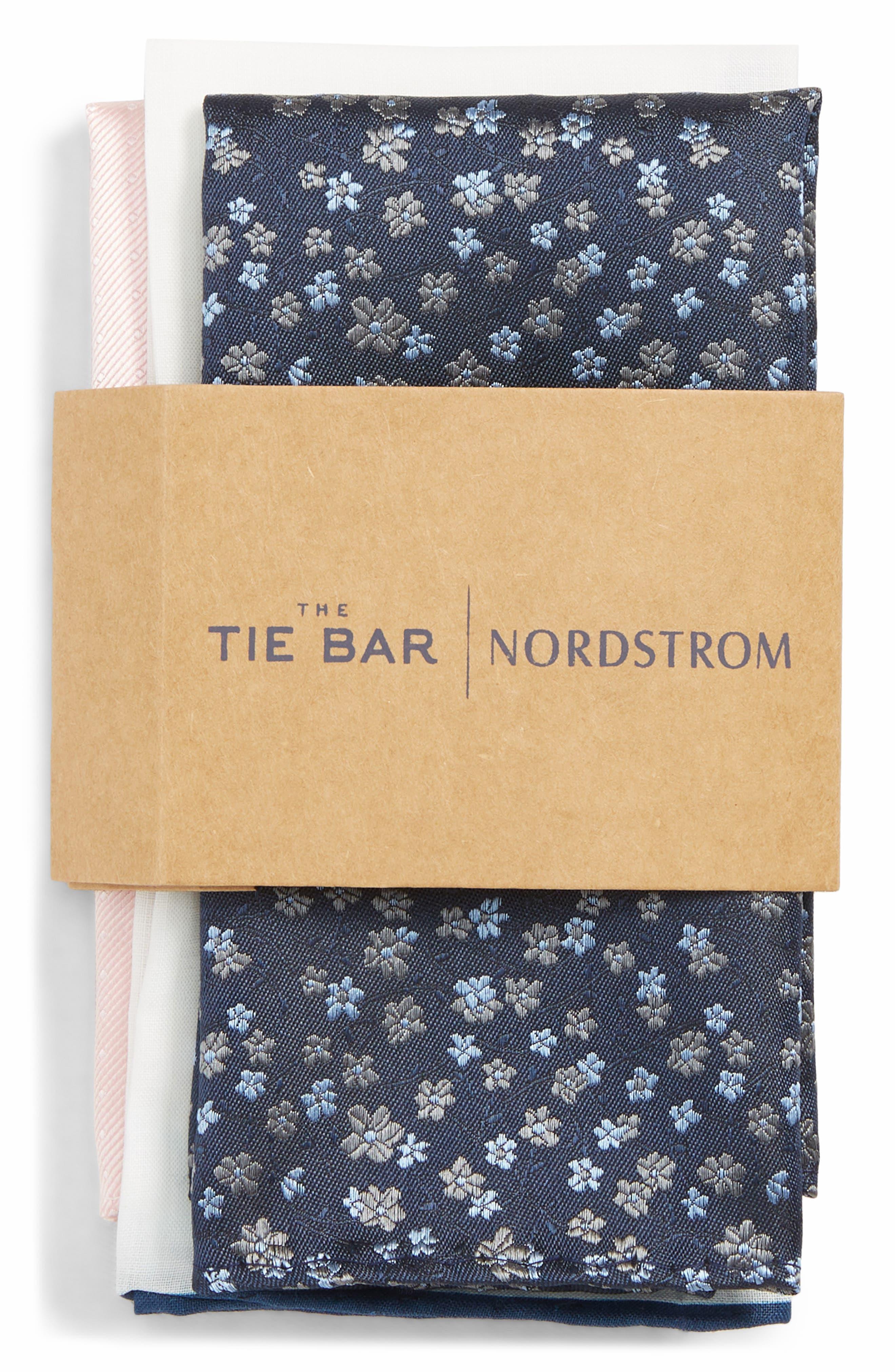 THE TIE BAR, 3-Pack Pocket Squares, Alternate thumbnail 2, color, BLUSH PINK