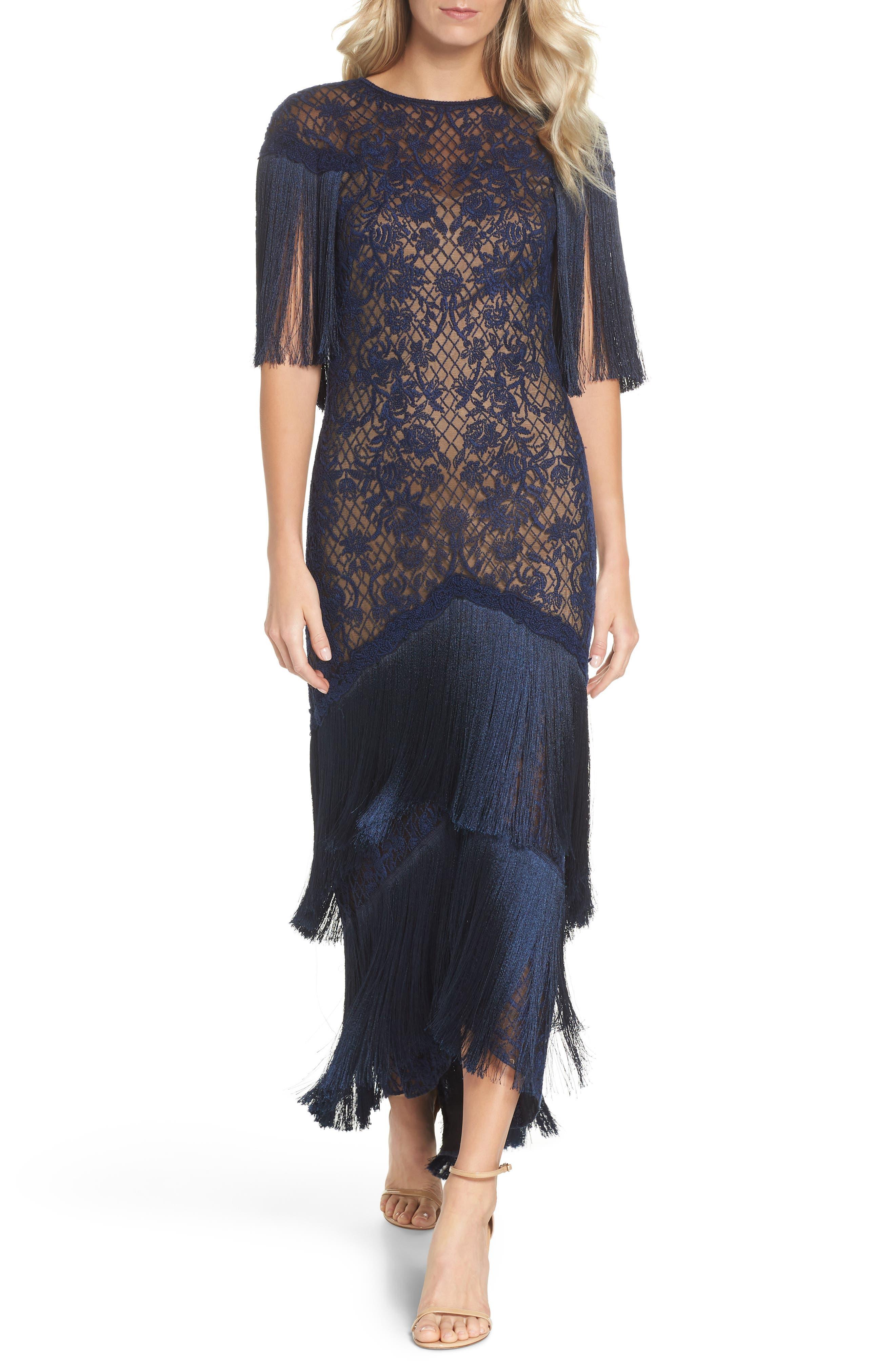 70s Prom, Formal, Evening, Party Dresses Womens Tadashi Shoji Embroidered Mesh  Fringe Gown Size 12 - Blue $628.00 AT vintagedancer.com