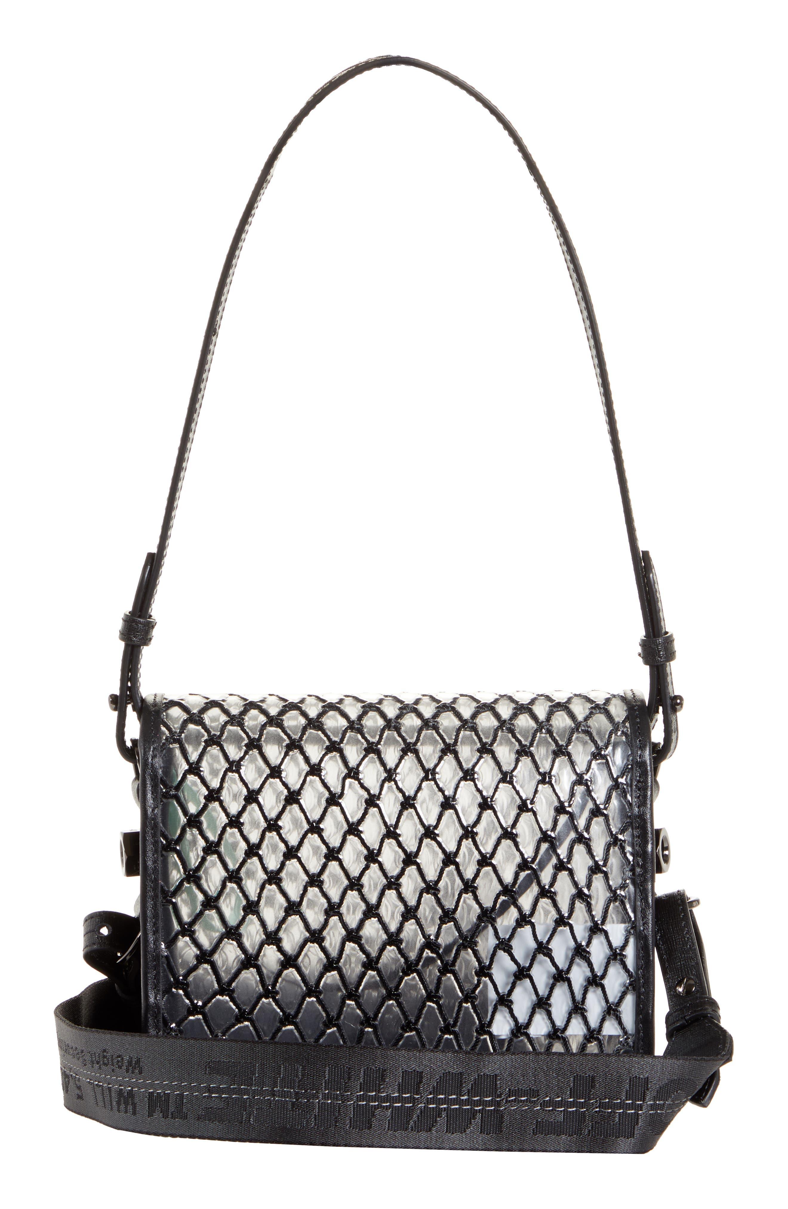 OFF-WHITE, Net PVC Flap Bag, Alternate thumbnail 4, color, BLACK