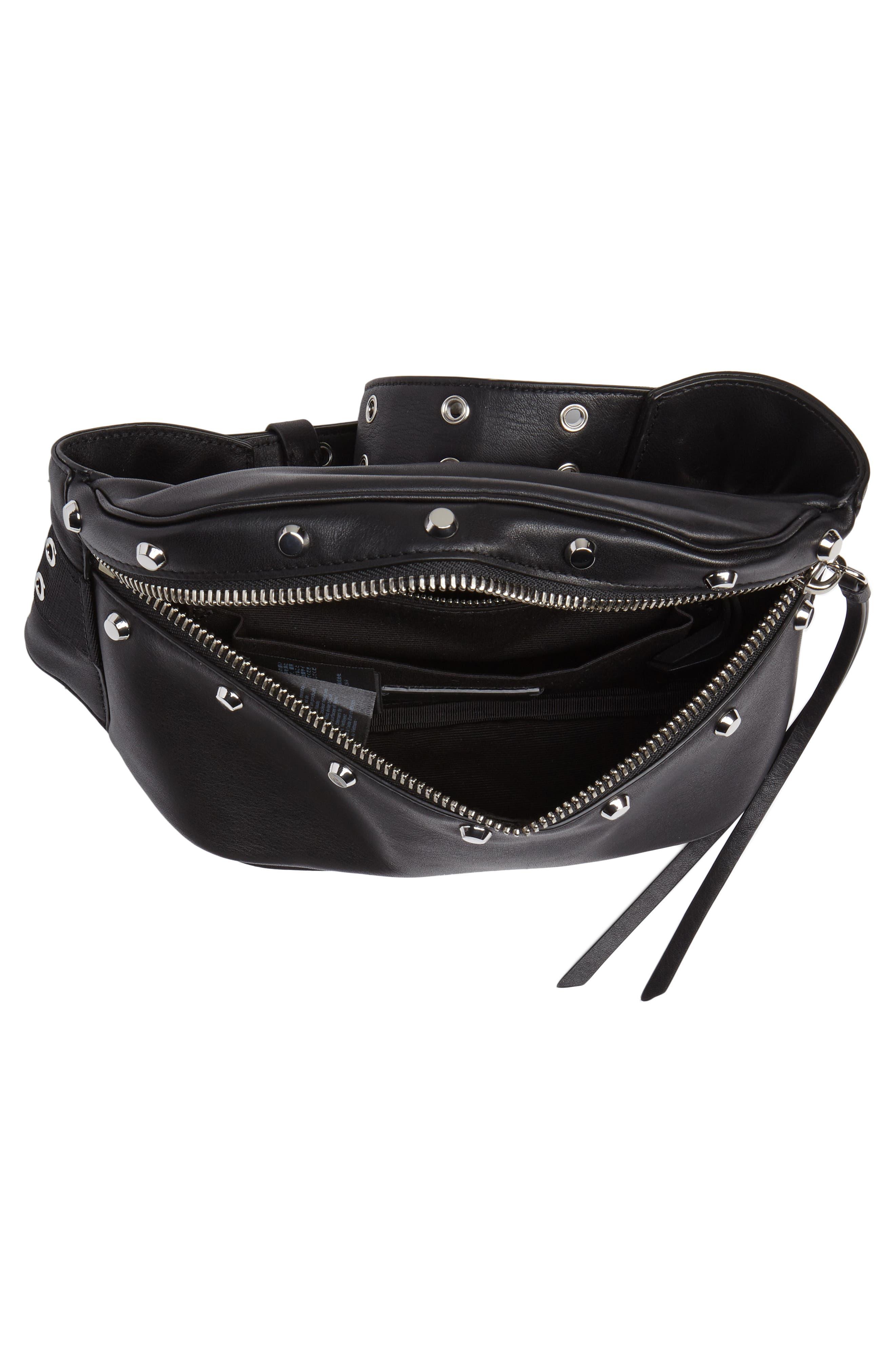 ALLSAINTS, Studded Leather Belt Bag, Alternate thumbnail 6, color, 001