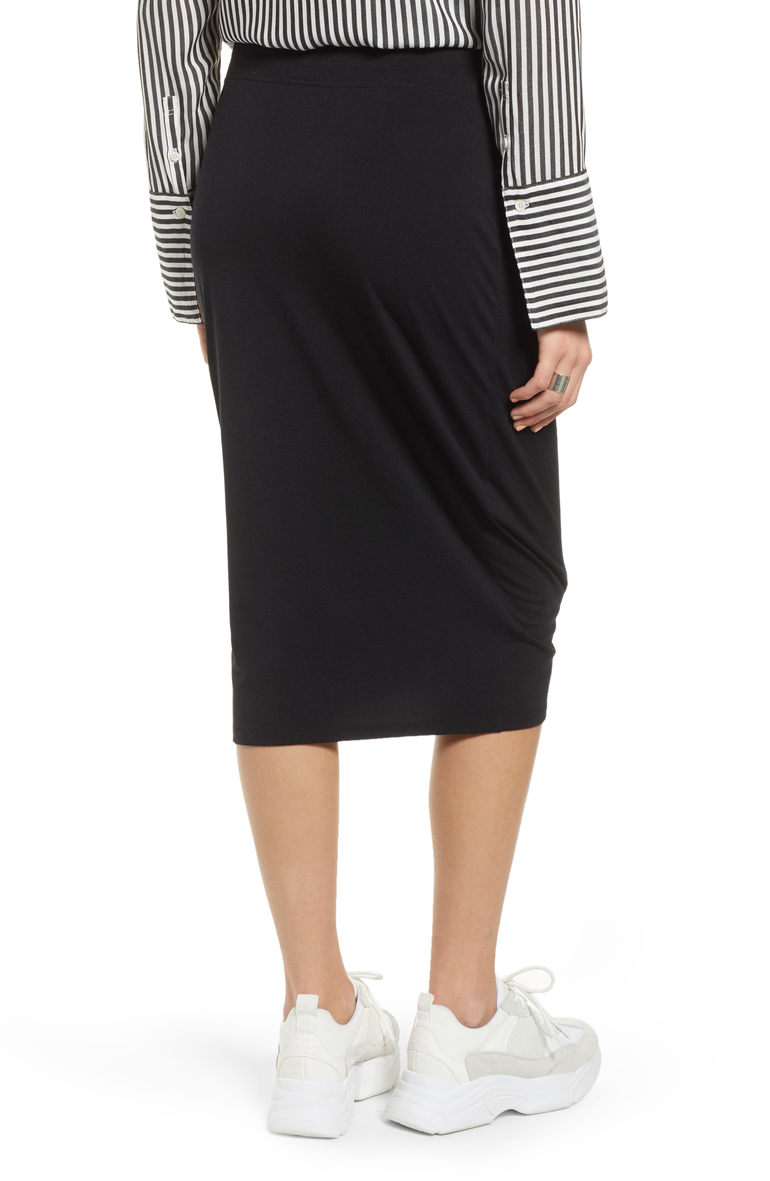 TREASURE & BOND, Shirred Side Midi Skirt, Alternate thumbnail 2, color, BLACK
