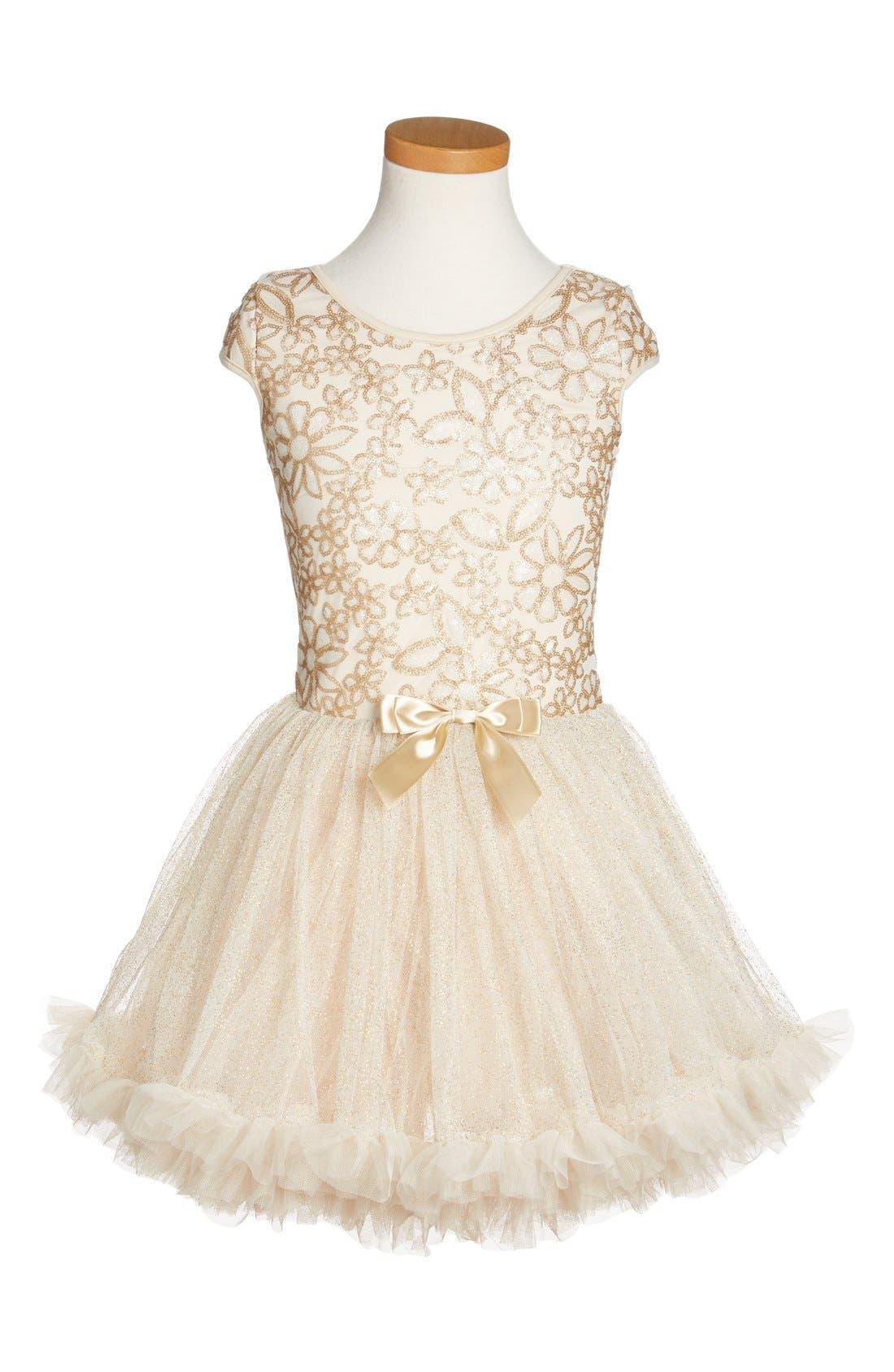 POPATU, Sequin Cap Sleeve Dress, Main thumbnail 1, color, GOLD