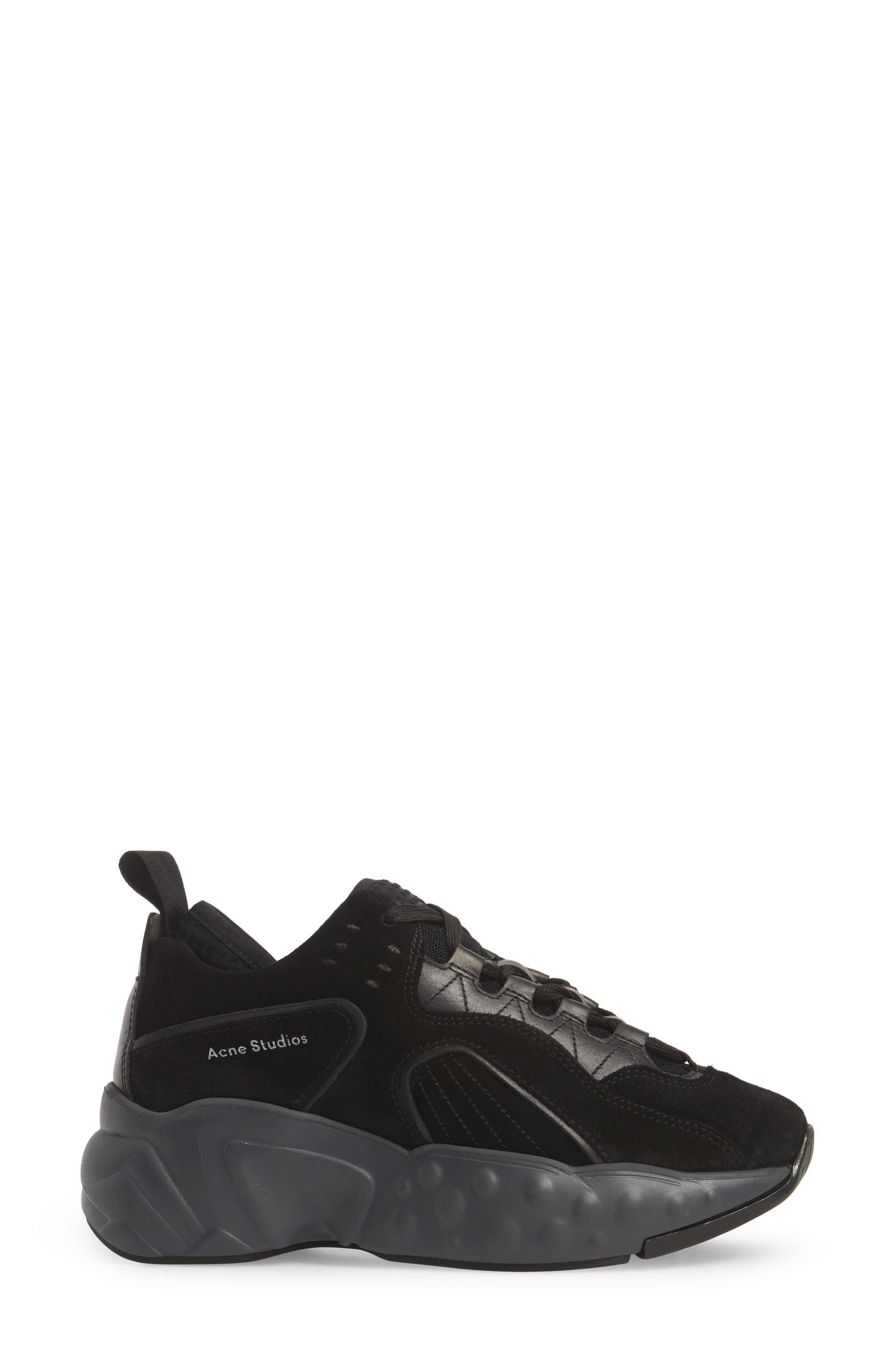 ACNE STUDIOS, Manhattan Sneaker, Alternate thumbnail 3, color, MULTI BLACK