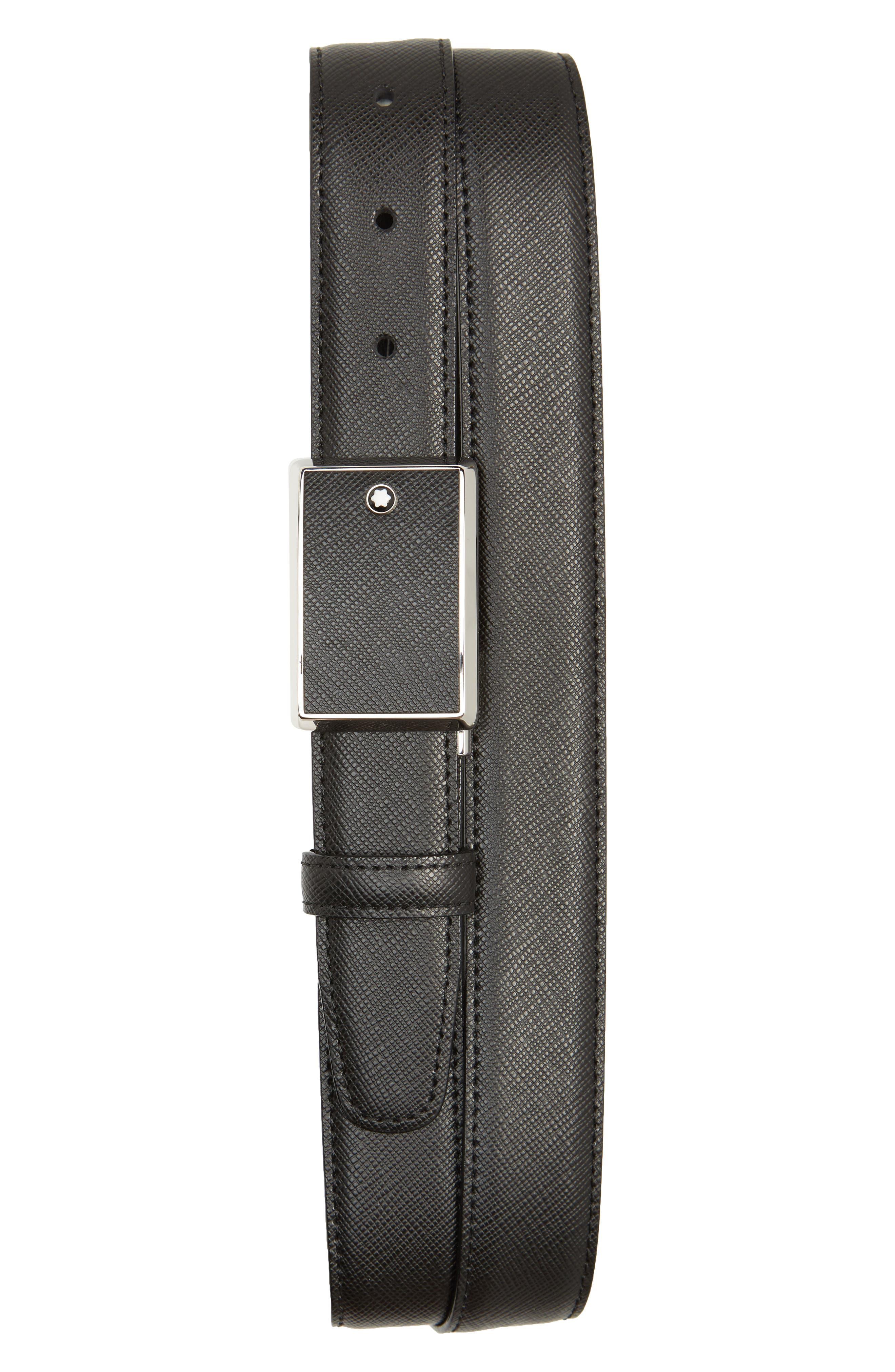 MONTBLANC, Meisterstuck Reversible Sartorial Leather Belt, Main thumbnail 1, color, BLACK