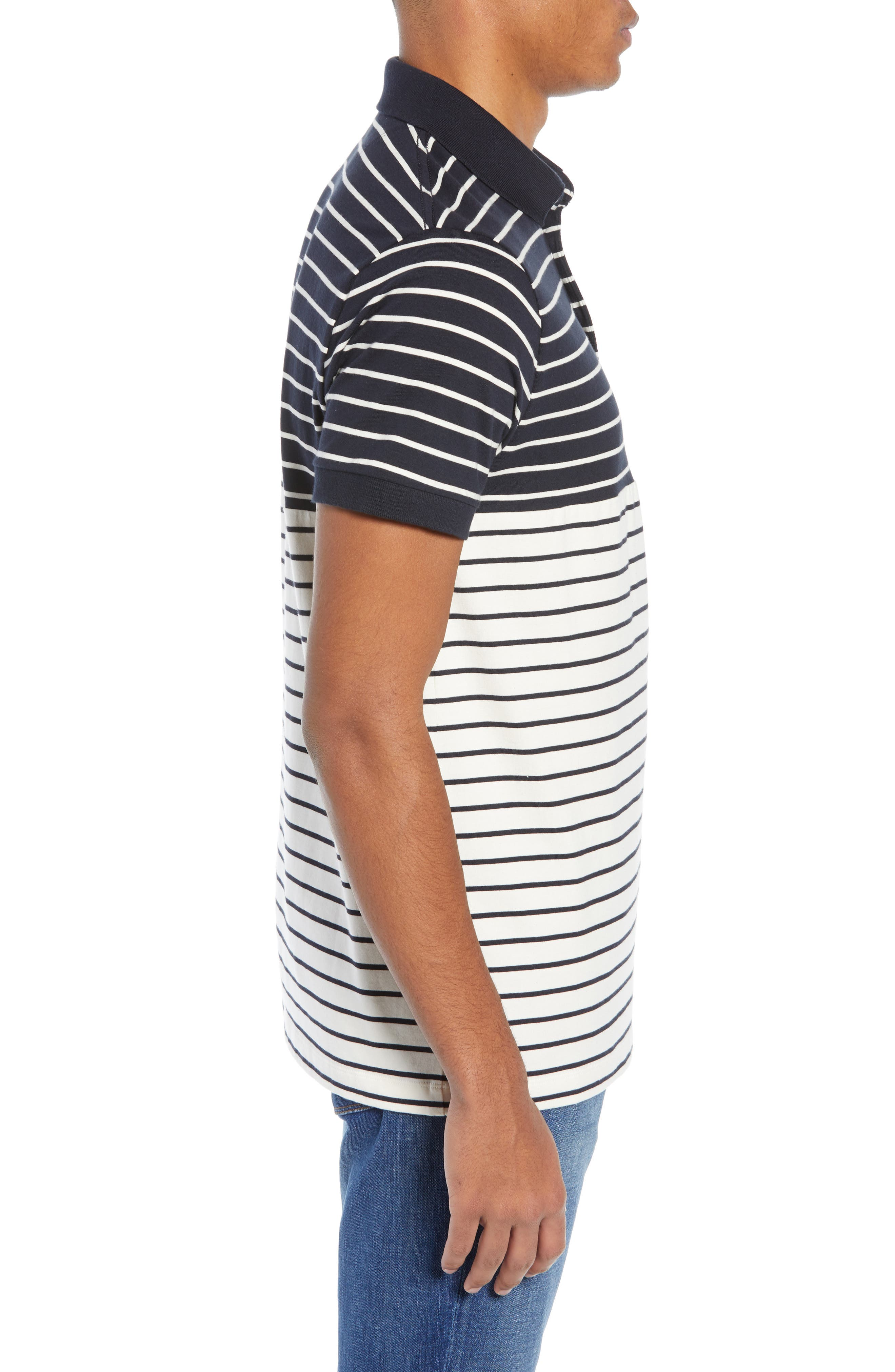 FRENCH CONNECTION, Tim Regular Fit Stripe Polo, Alternate thumbnail 3, color, UTILITY BLUE CREAM