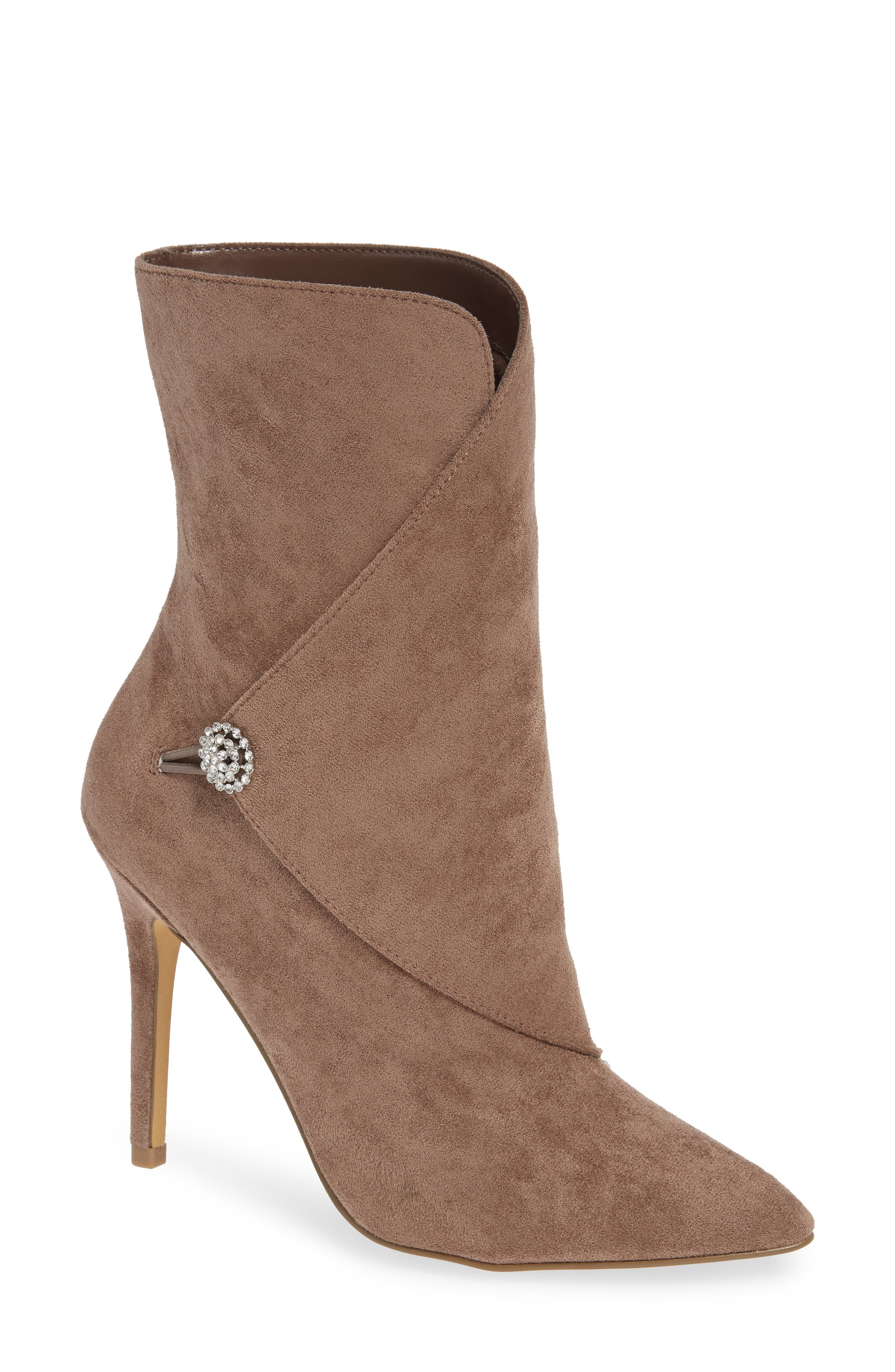 CHARLES BY CHARLES DAVID, Pistol Crystal Embellished Pointy Toe Bootie, Main thumbnail 1, color, TAUPE SUEDE