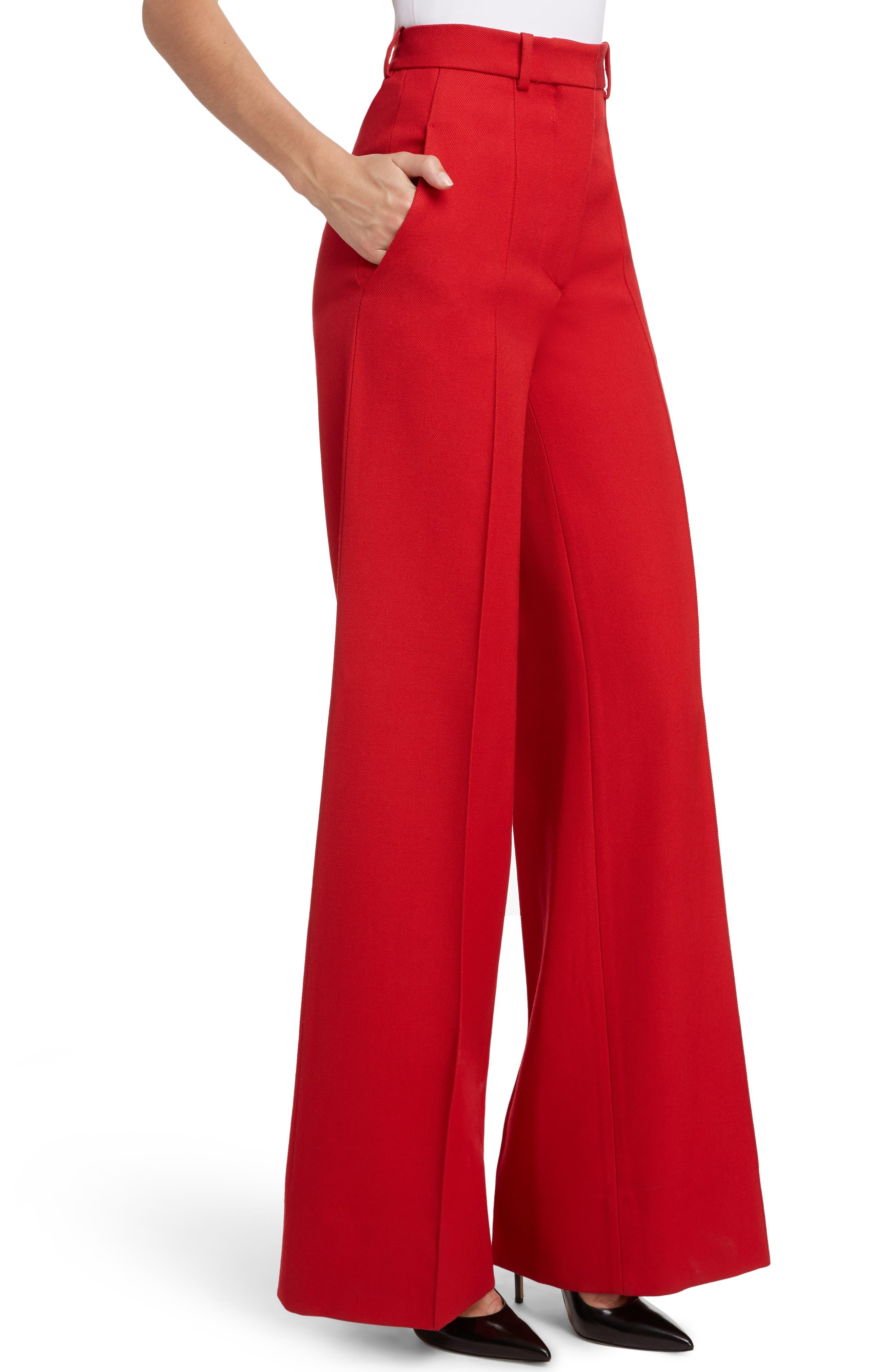 VICTORIA BECKHAM, High Waist Wool Pants, Alternate thumbnail 4, color, RED