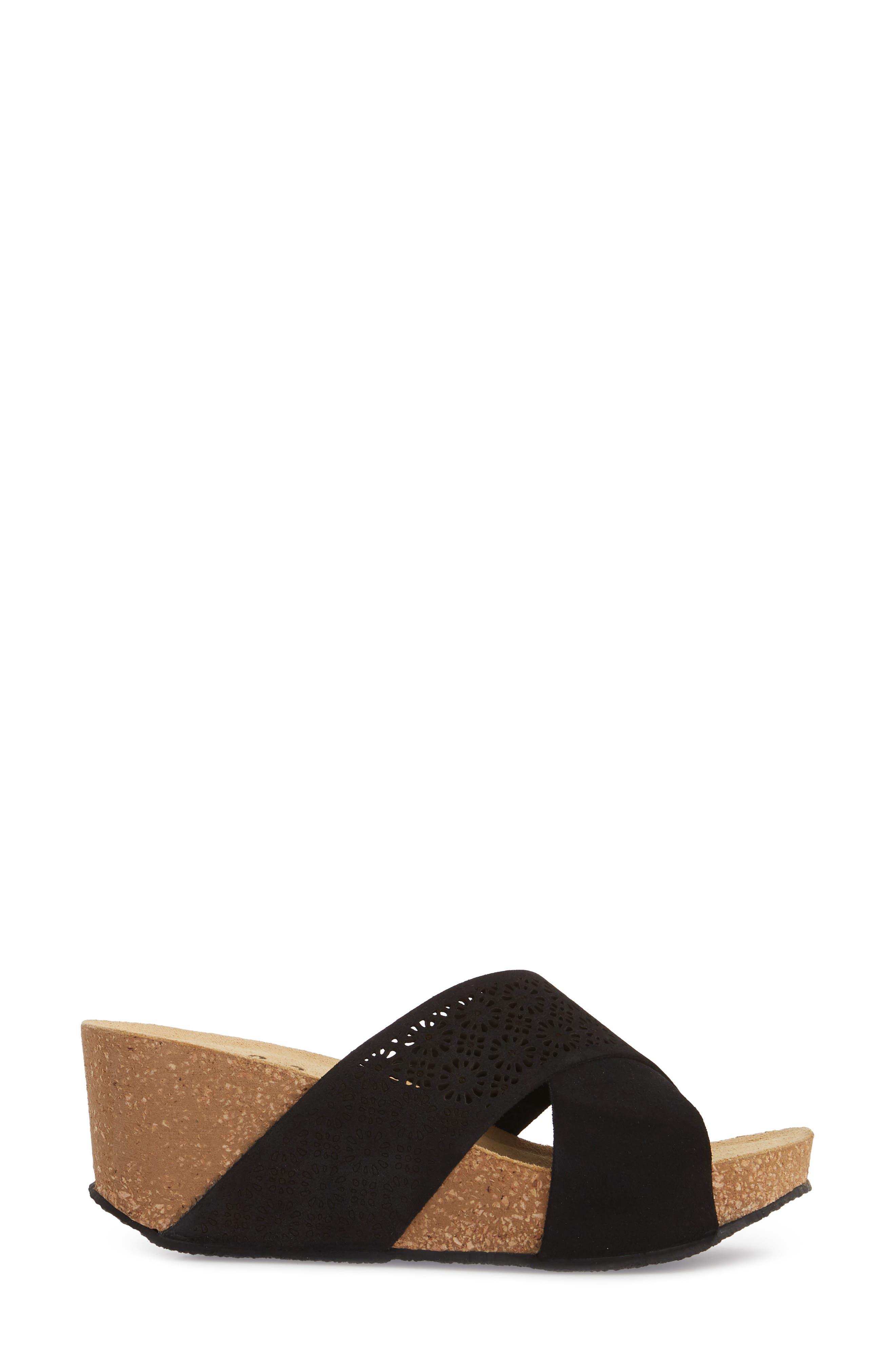 BOS. & CO., Lomi Platform Wedge Slide Sandal, Alternate thumbnail 3, color, BLACK SUEDE