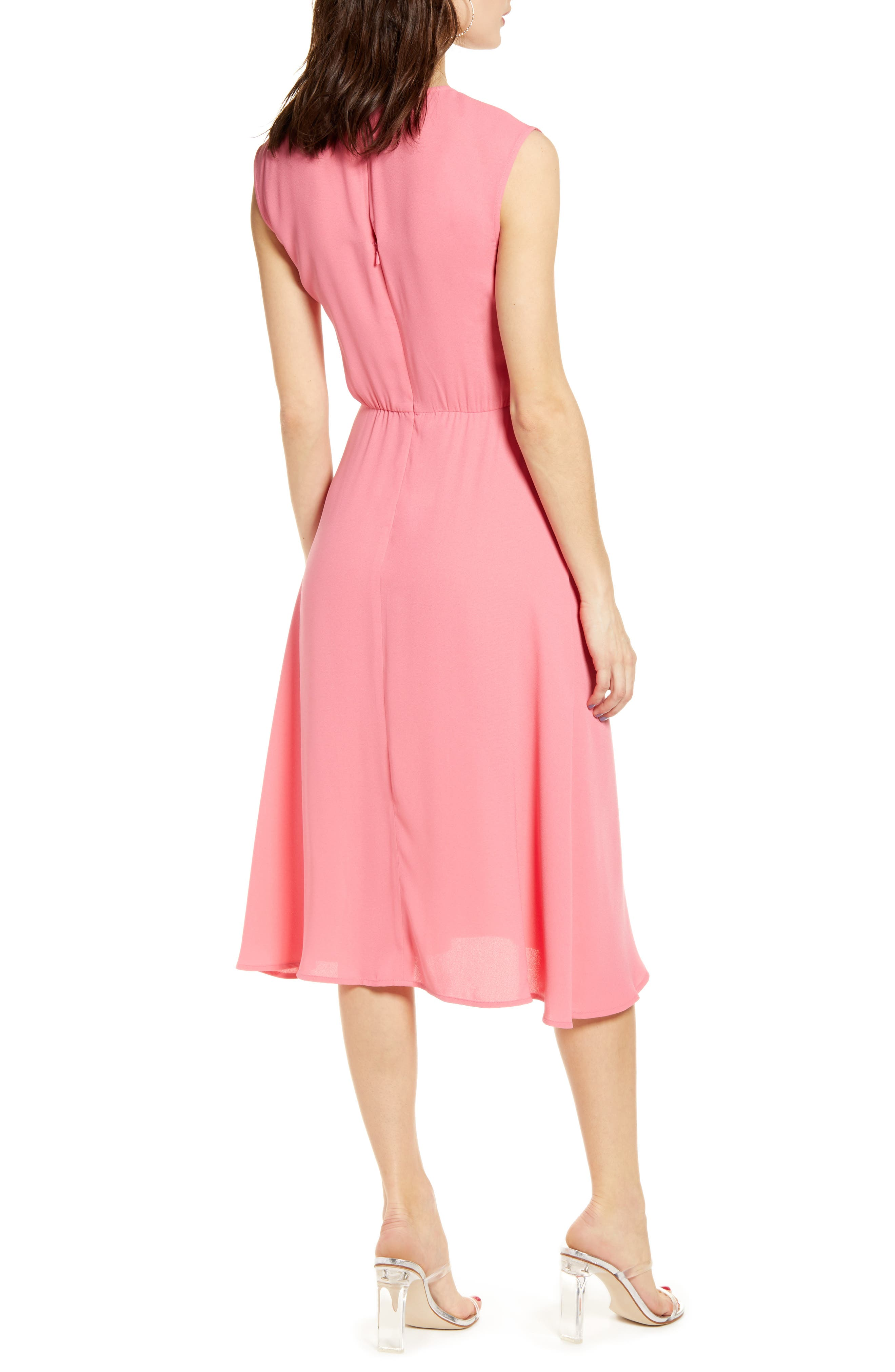 LEITH, Chic Midi Dress, Alternate thumbnail 2, color, PINK LEMONADE