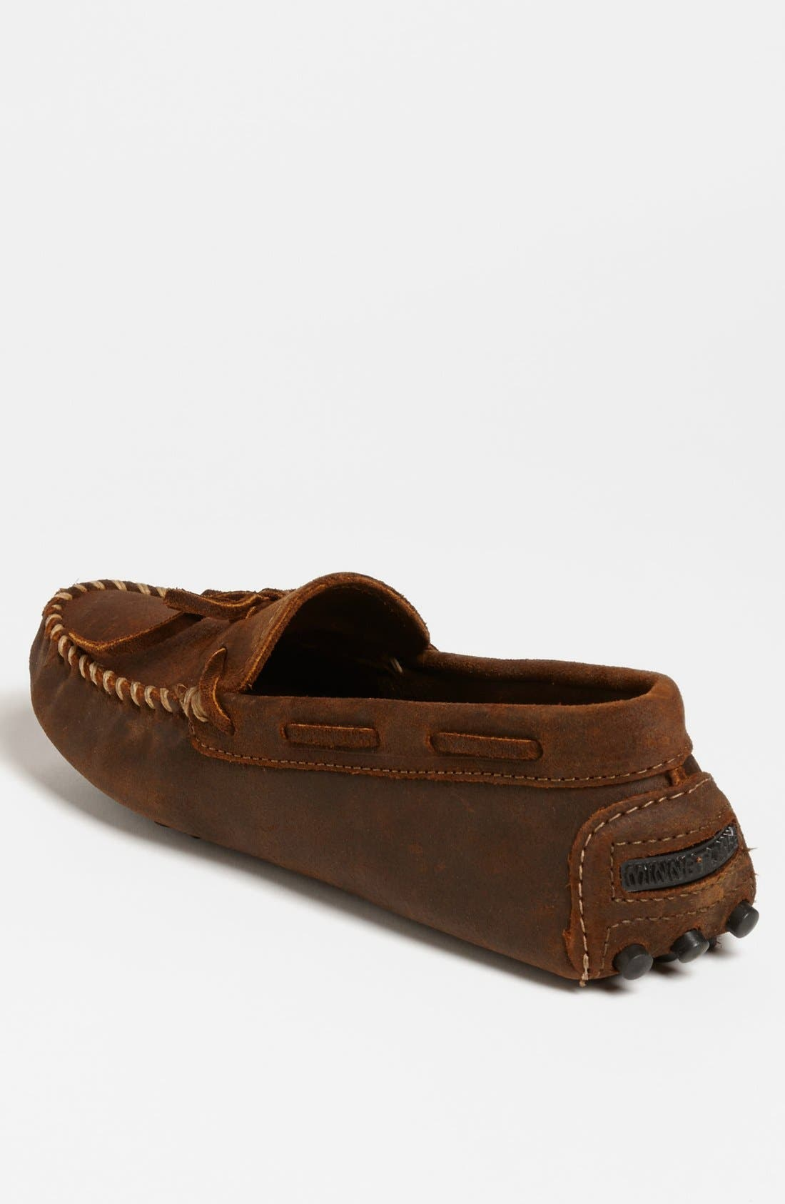 MINNETONKA, Suede Driving Shoe, Alternate thumbnail 3, color, BROWN