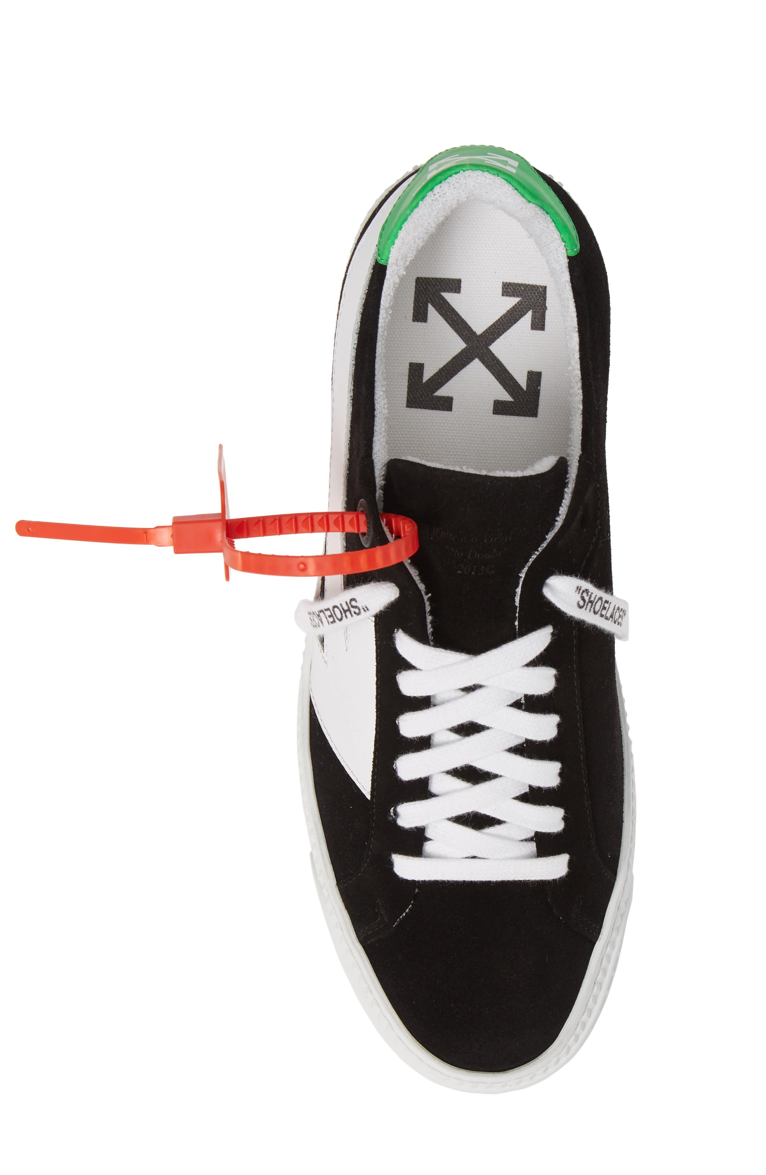 OFF-WHITE, Arrow Sneaker, Alternate thumbnail 5, color, BLACK WHITE