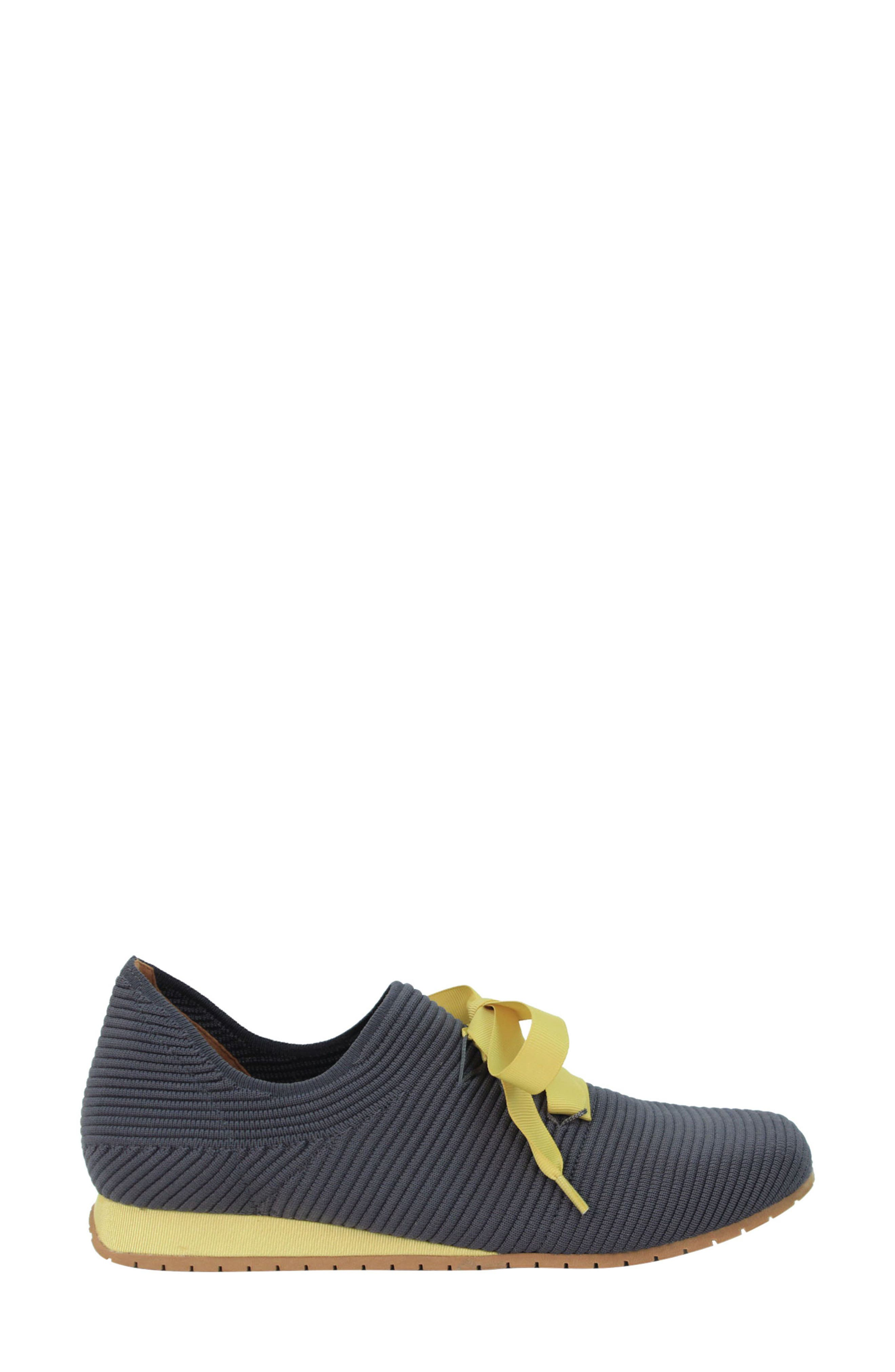 L'AMOUR DES PIEDS, Taimah Sneaker, Alternate thumbnail 7, color, DARK GREY/ YELLOW FABRIC