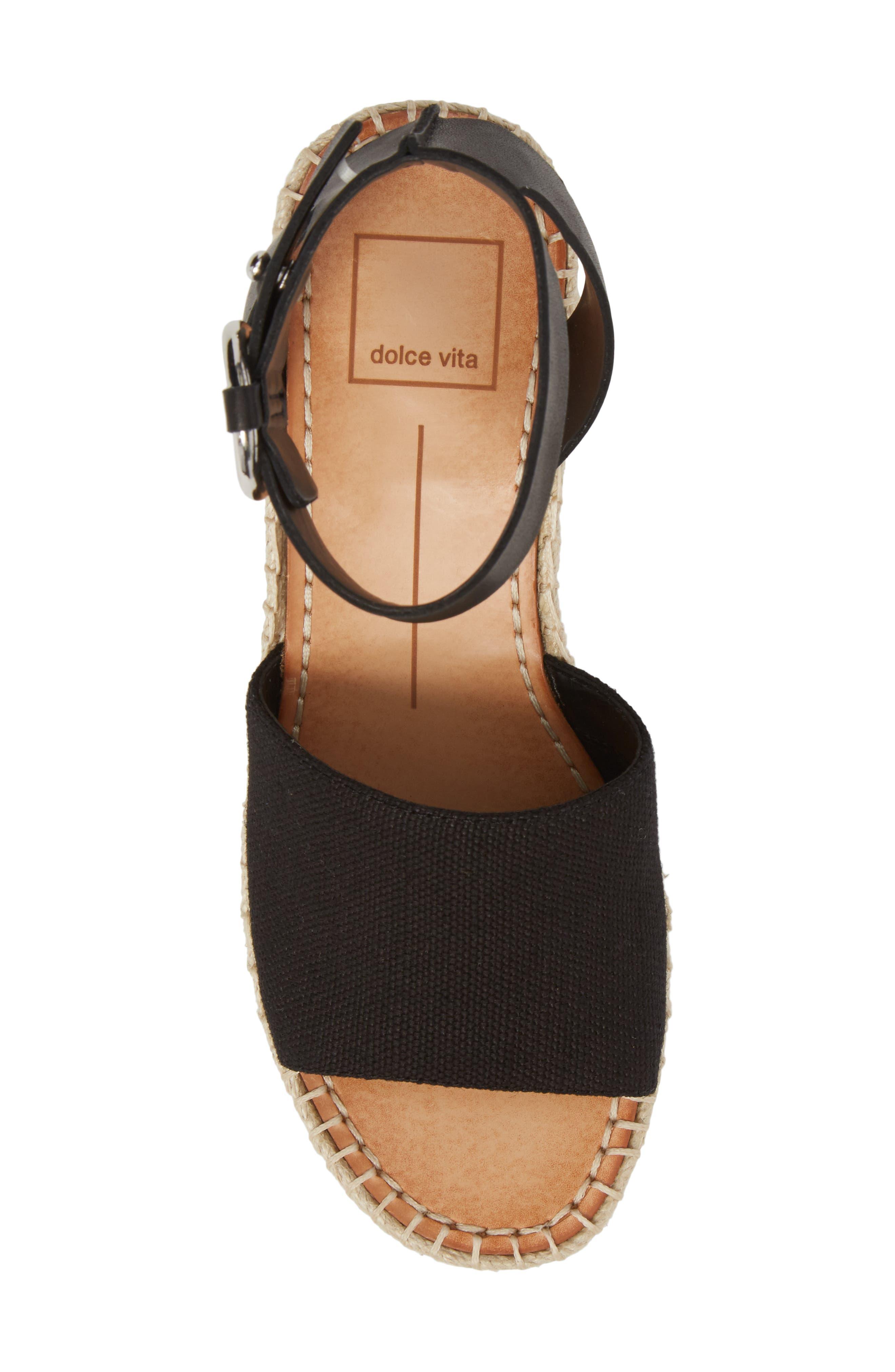 DOLCE VITA, Lesly Espadrille Platform Sandal, Alternate thumbnail 5, color, 001