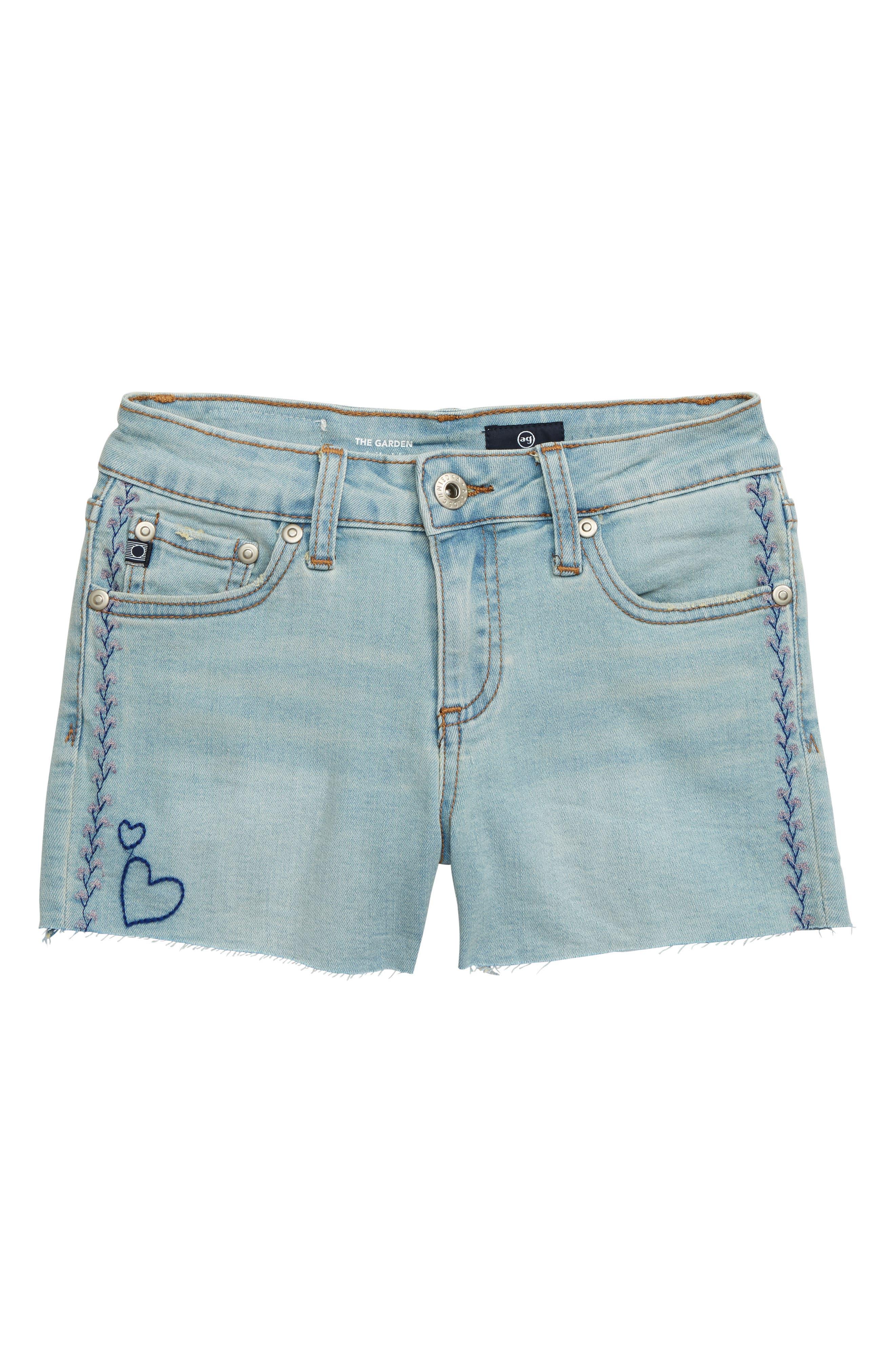 Girls Ag Embroidered Garden Denim Shorts Size 12  Blue