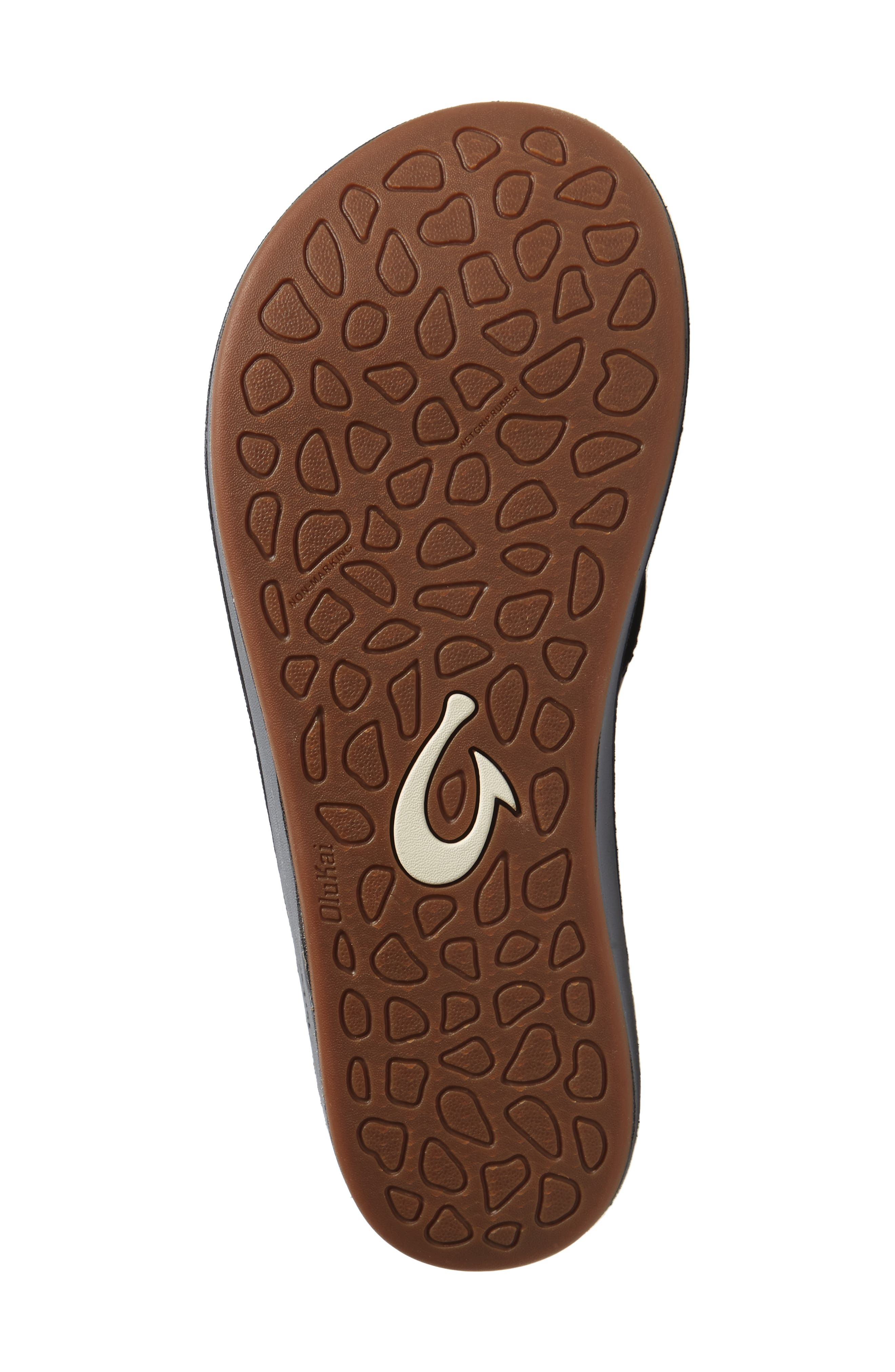 OLUKAI, Nohona Ili Flip Flop, Alternate thumbnail 6, color, BLACK/ BLACK LEATHER