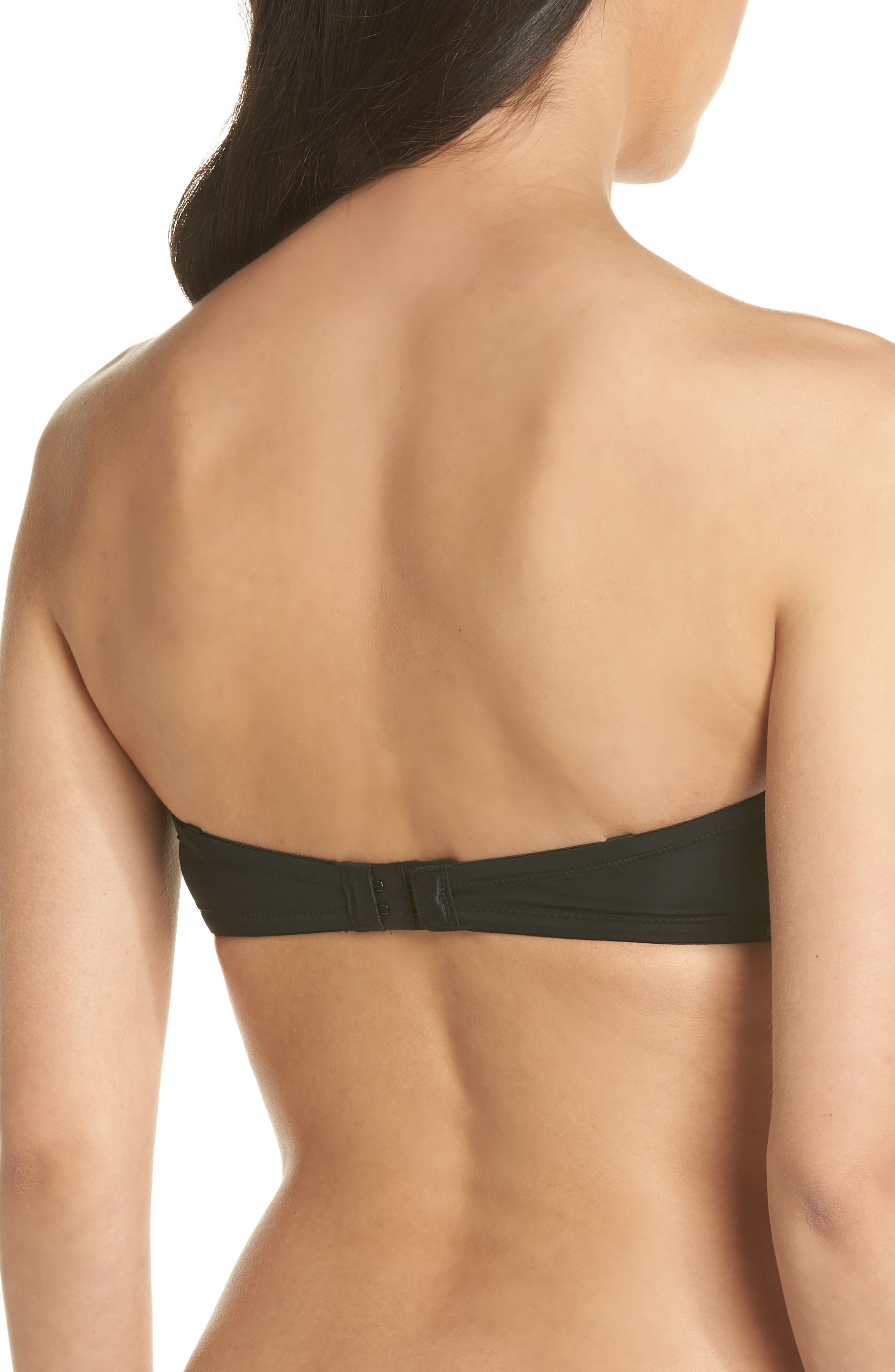 CALVIN KLEIN, 'Naked Glamour' Convertible Strapless Push-Up Bra, Alternate thumbnail 2, color, BLACK