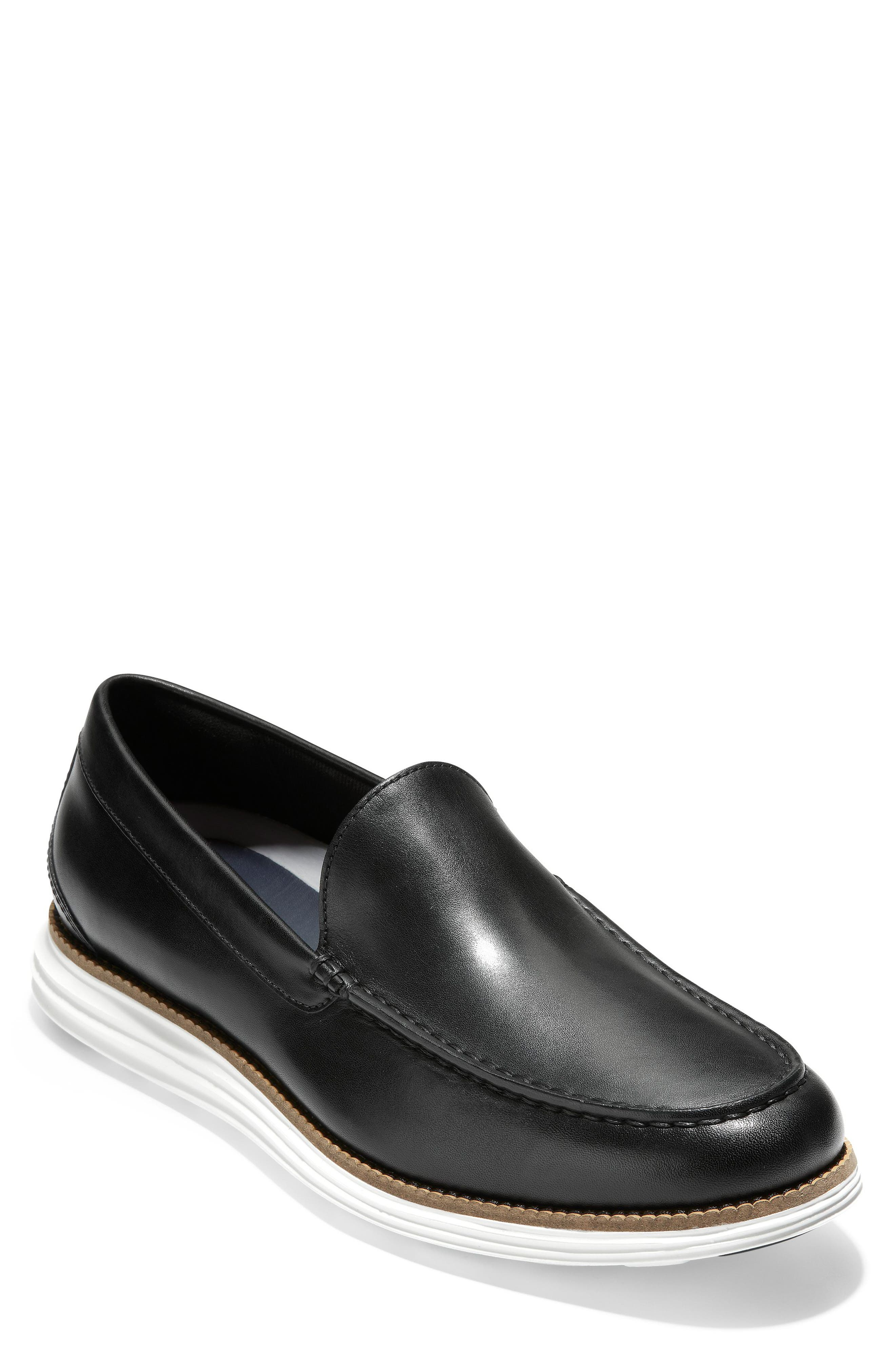 COLE HAAN Original Grand Loafer, Main, color, BLACK/ OPTIC WHITE LEATHER