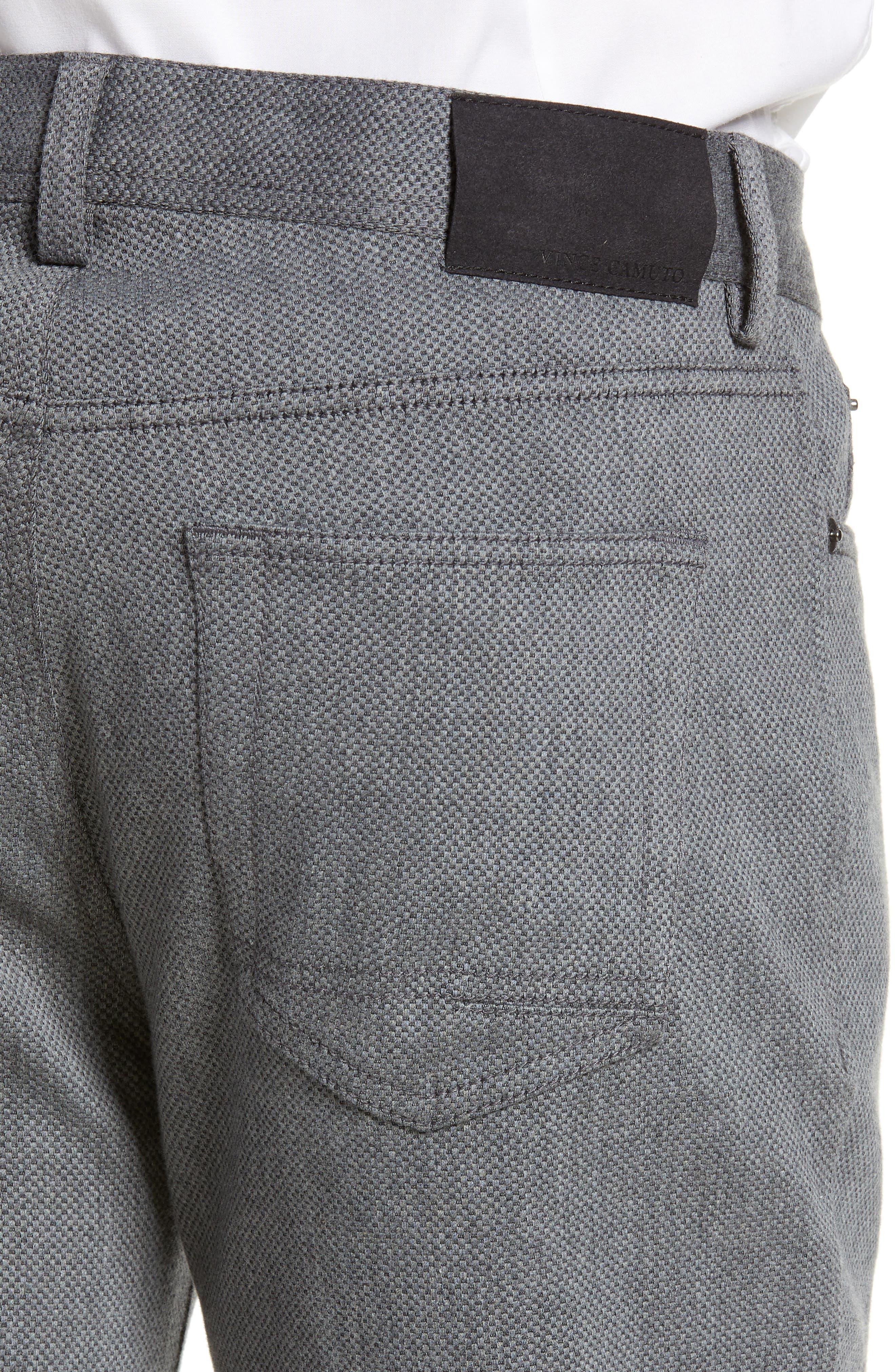 VINCE CAMUTO, Straight Leg Five Pocket Stretch Pants, Alternate thumbnail 4, color, HEATHER CHARCOAL CROSSHATCH