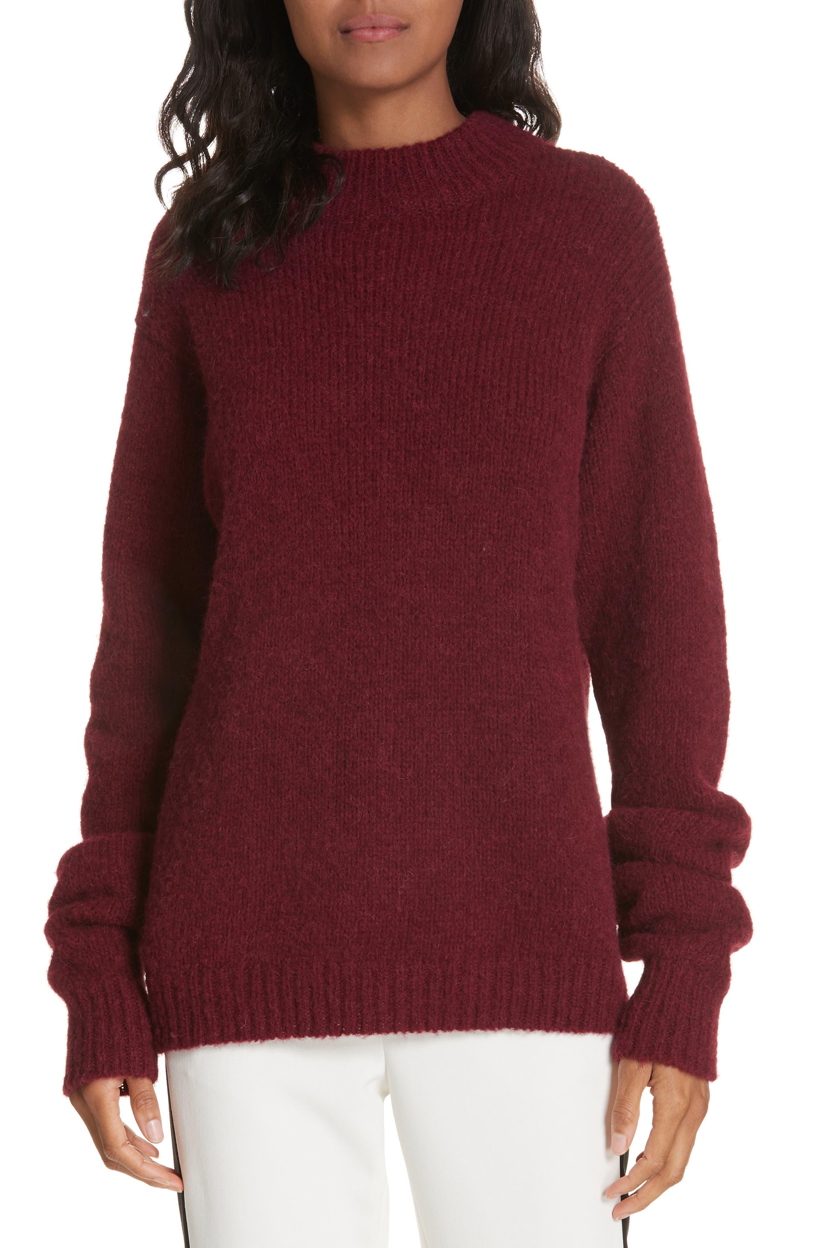 Tibi Cozette Alpaca & Wool Blend Sweater, Burgundy
