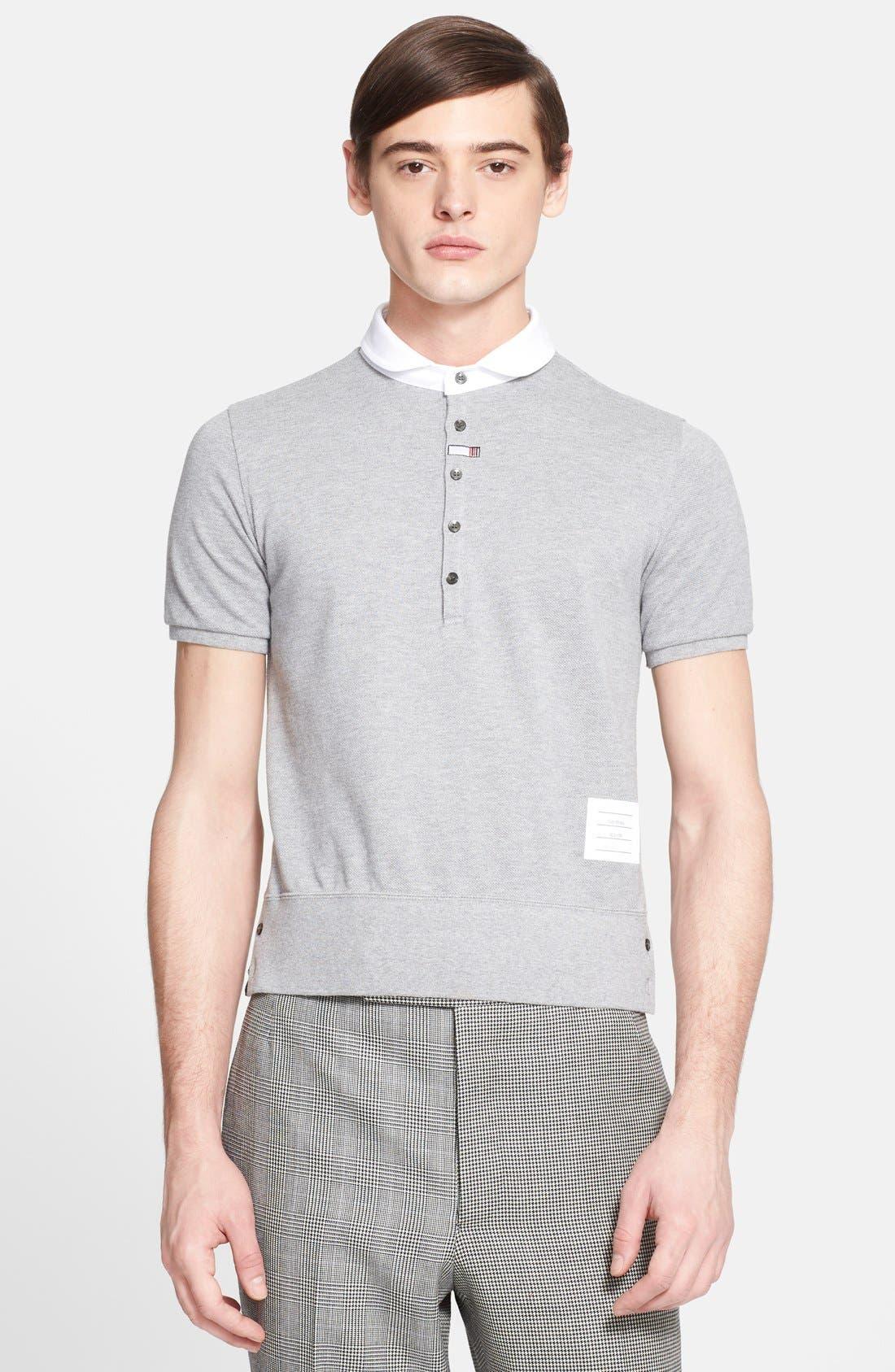 THOM BROWNE Club Collar Cotton Piqué Polo, Main, color, 020