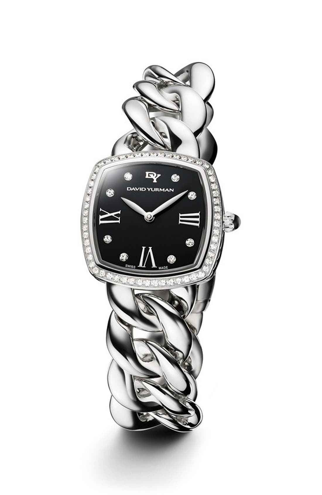 DAVID YURMAN, 'Albion' 27mm Stainless Steel Quartz Watch with Diamonds, Main thumbnail 1, color, STAINLESS STEEL