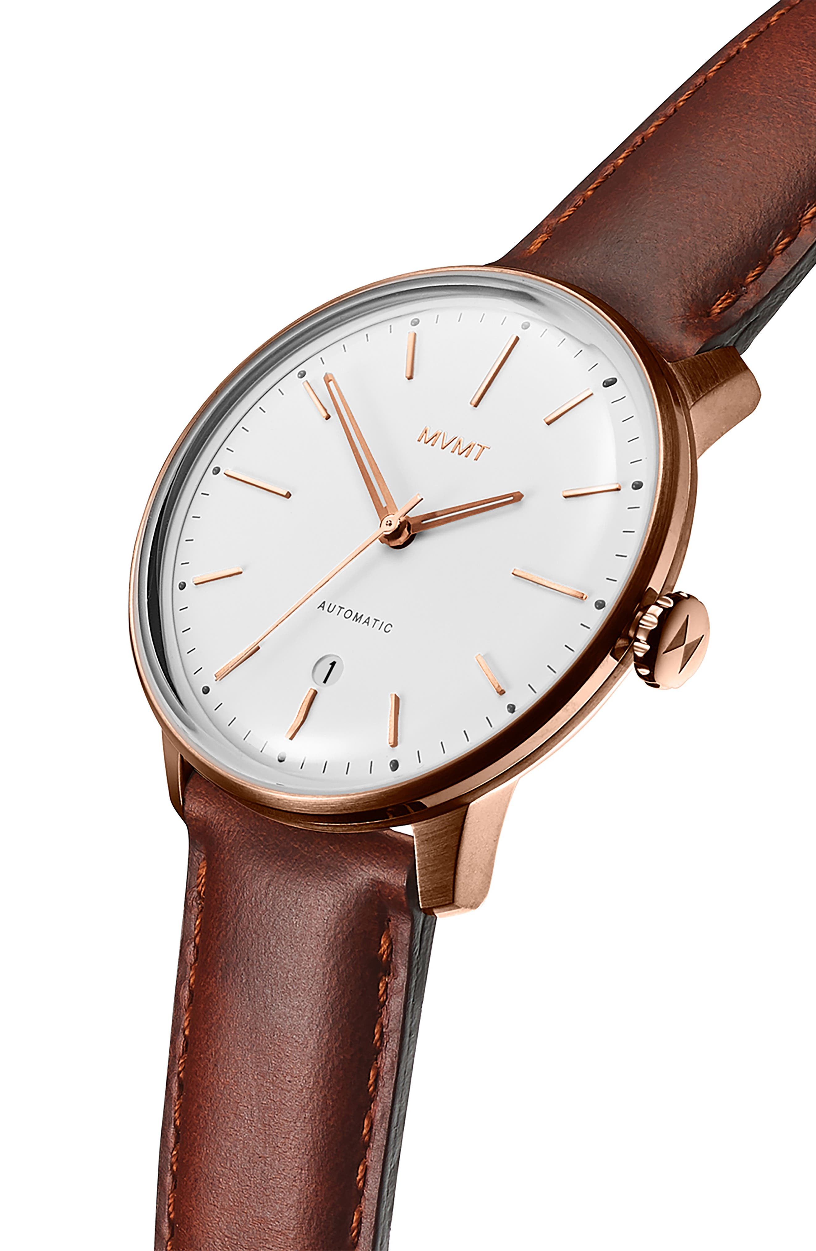 MVMT, Arc Automatic Leather Strap Watch, Alternate thumbnail 3, color, WHITE/ NATURAL