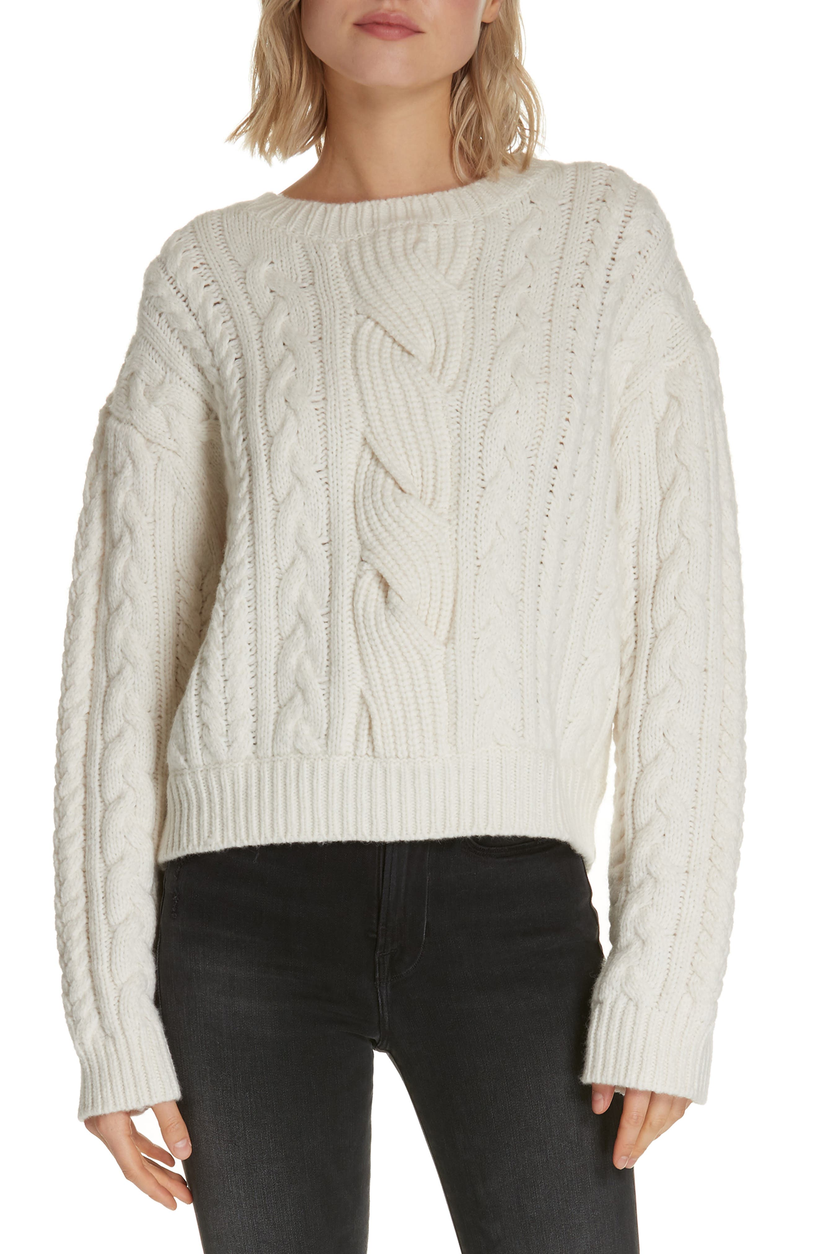 Frame Cable Knit Wool Blend Sweater, Ivory