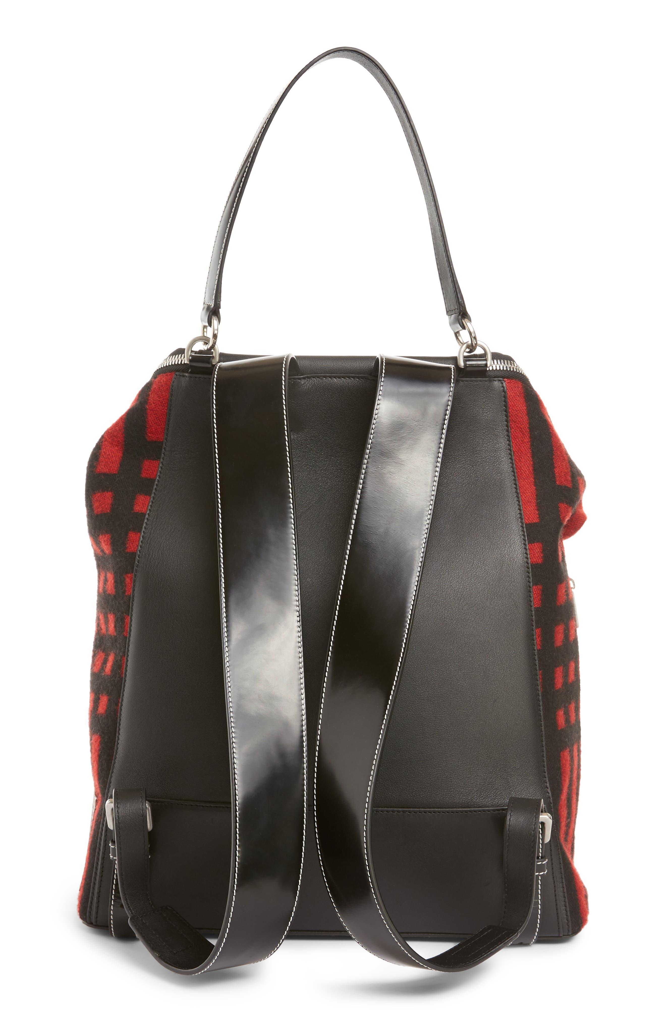 LOEWE, Goya Grid Backpack, Alternate thumbnail 3, color, SCARLET RED/BLACK