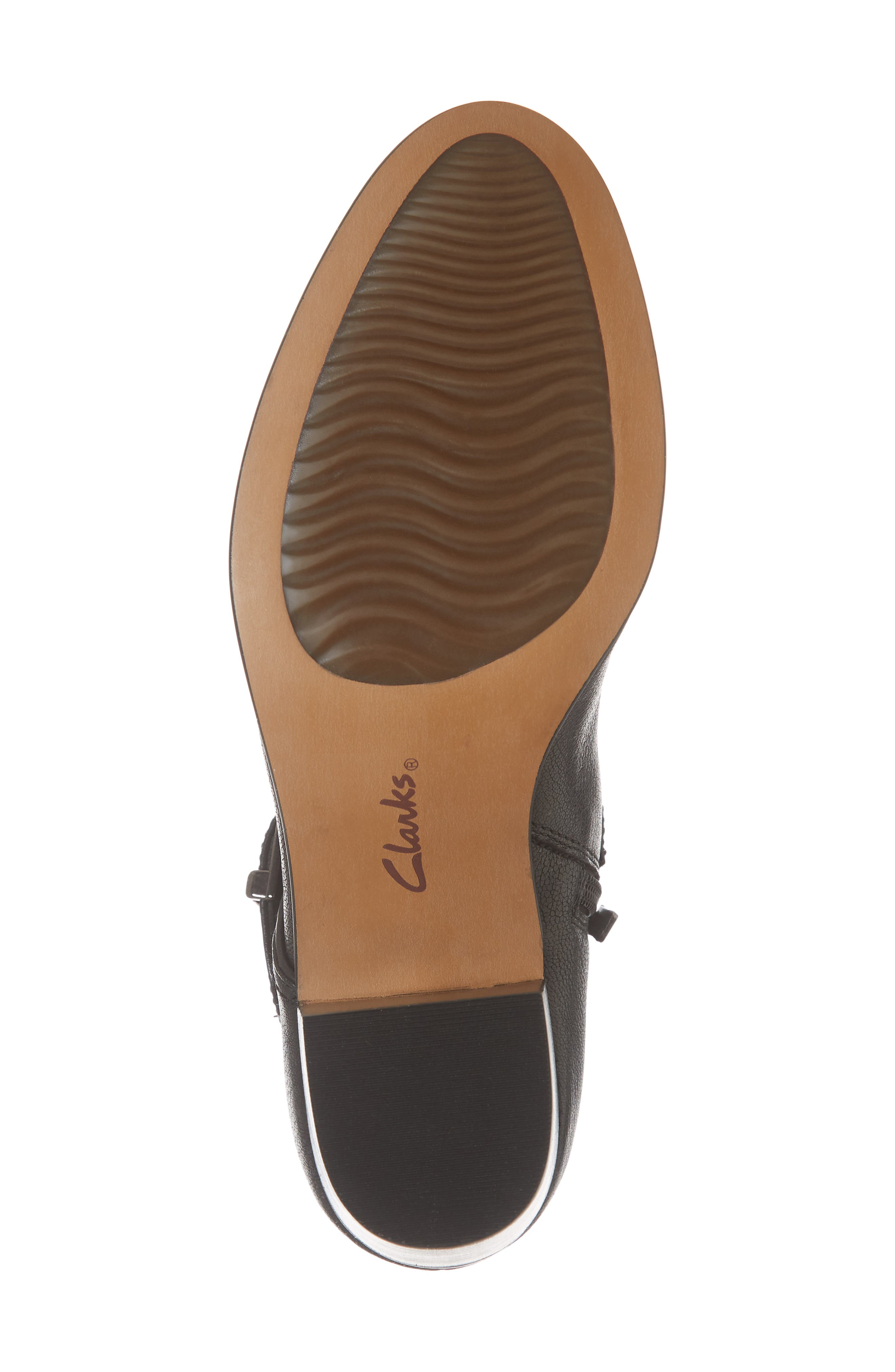 CLARKS<SUP>®</SUP>, Maypearl Milla Bootie, Alternate thumbnail 6, color, BLACK TUMBLED LEATHER