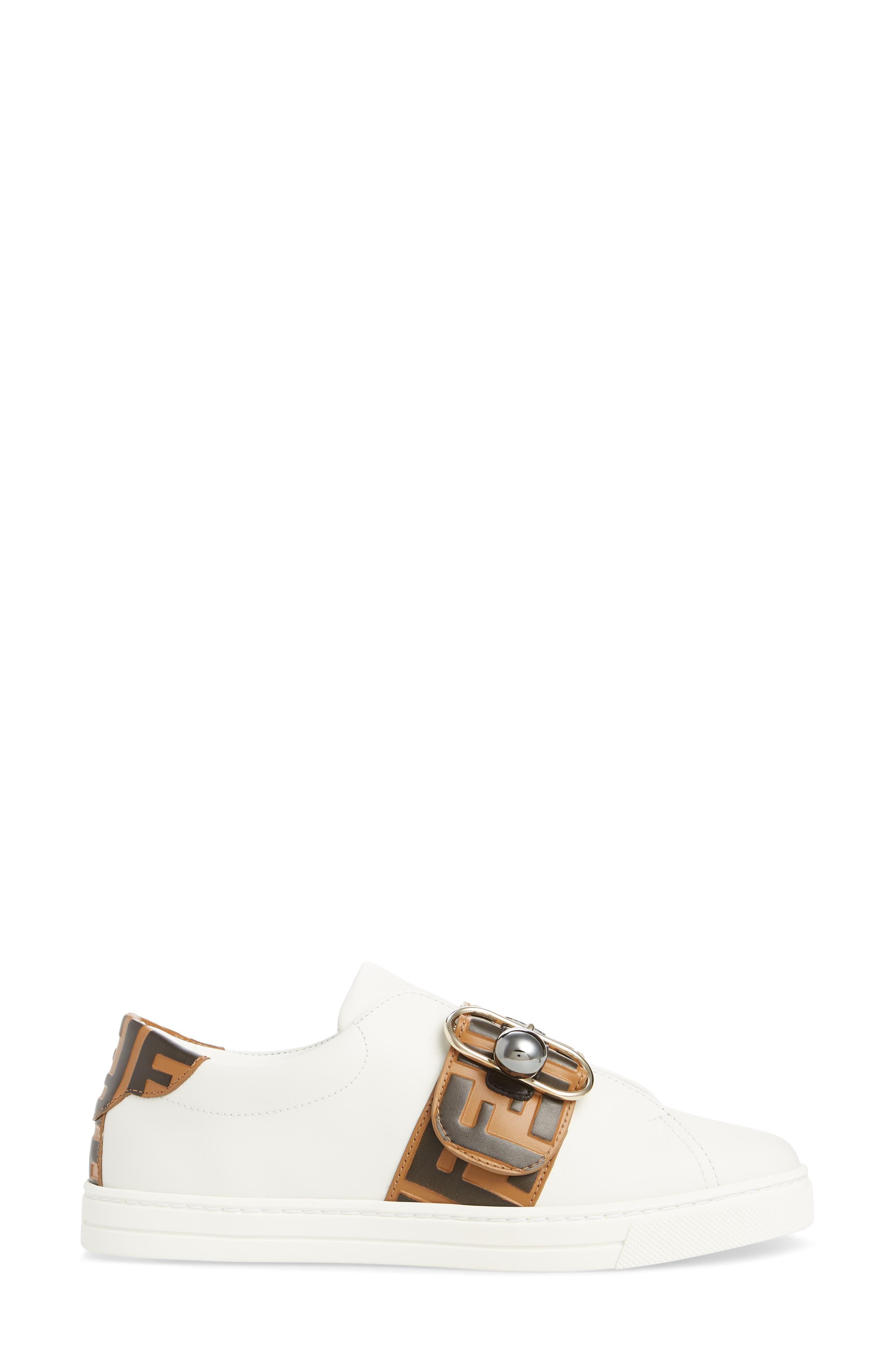 FENDI, Pearland Logo Slip-On Sneaker, Alternate thumbnail 3, color, WHITE/ BROWN