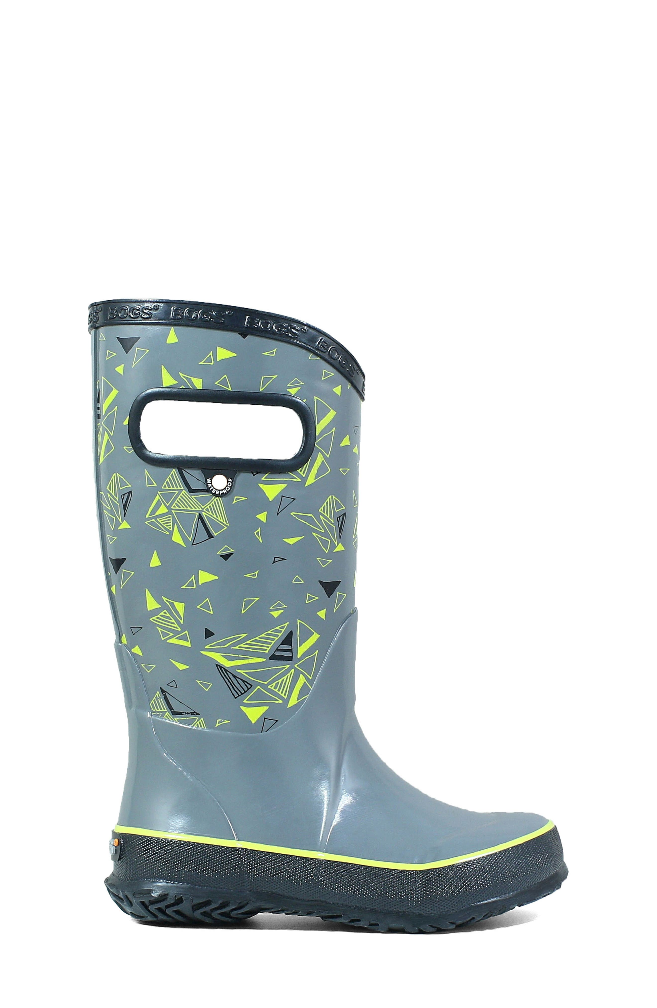 BOGS, Triego Waterproof Rain Boot, Alternate thumbnail 3, color, GRAY MULTI