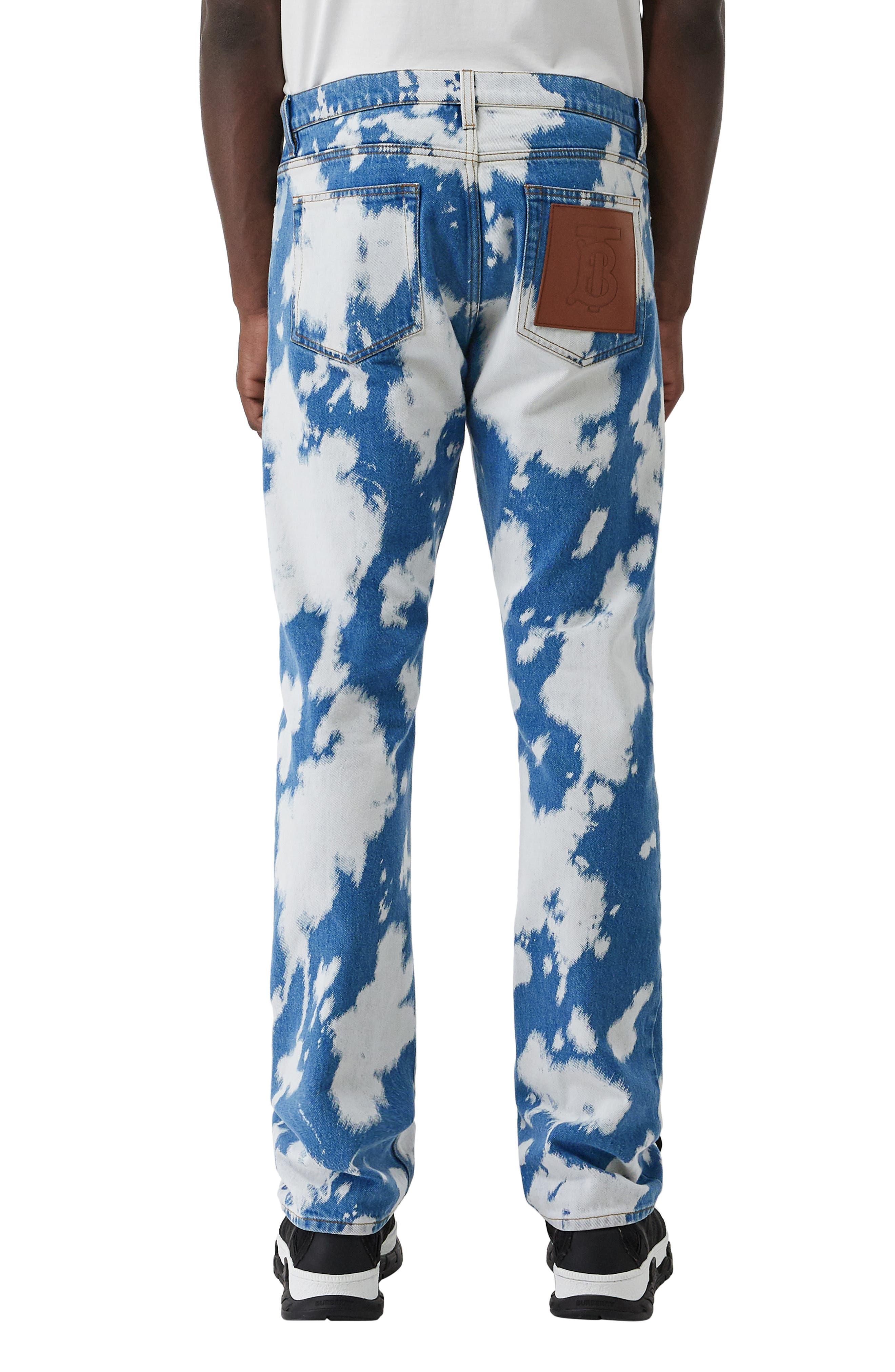 BURBERRY, Punk Bleached Straight Leg Jeans, Alternate thumbnail 2, color, LIGHT INDIGO