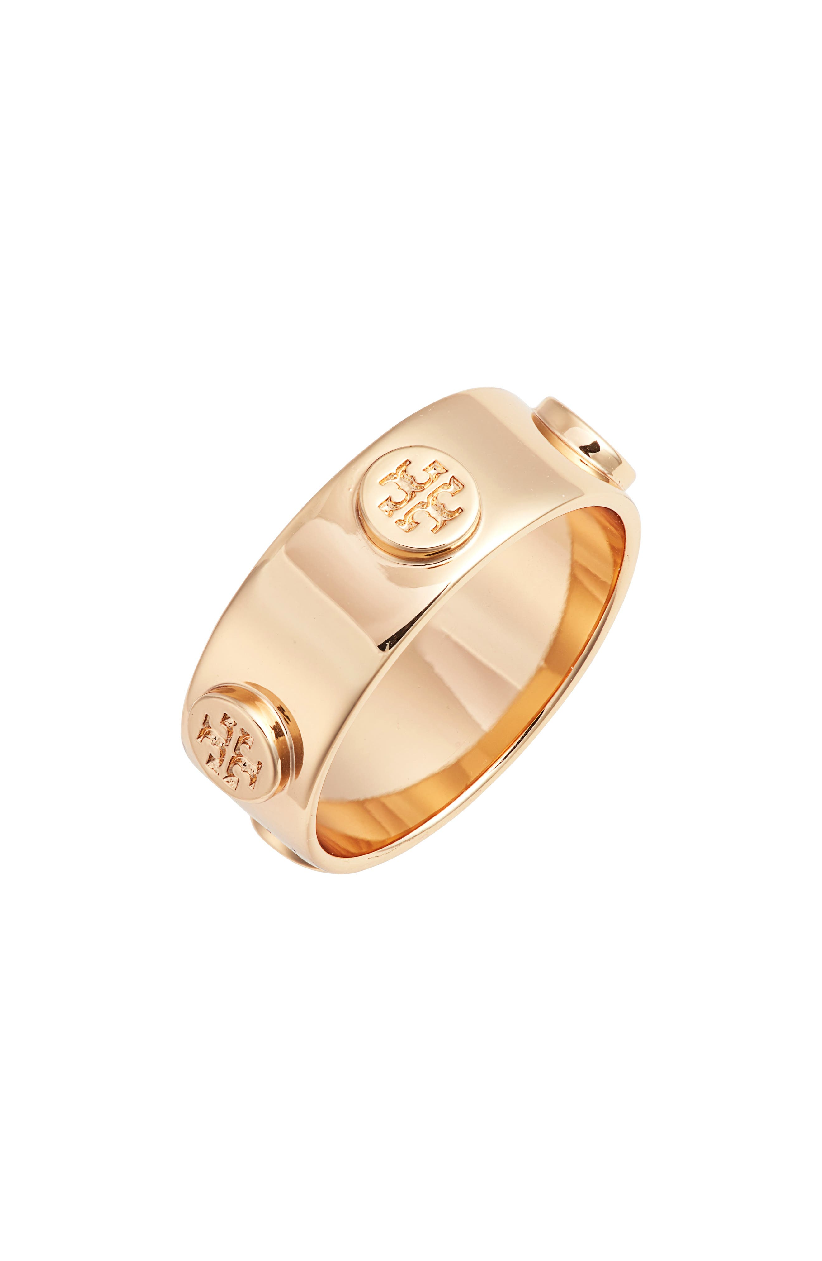 TORY BURCH, Delicate Logo Ring, Main thumbnail 1, color, TORY GOLD