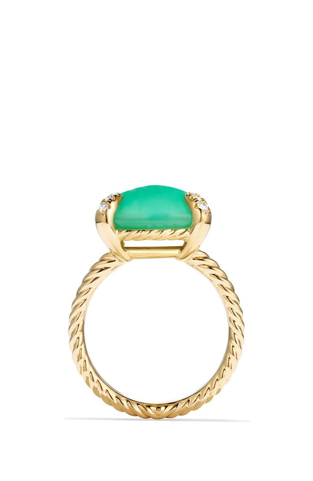 DAVID YURMAN, 'Chatelaine' Ring with Diamonds, Alternate thumbnail 3, color, CHRYSOPRASE