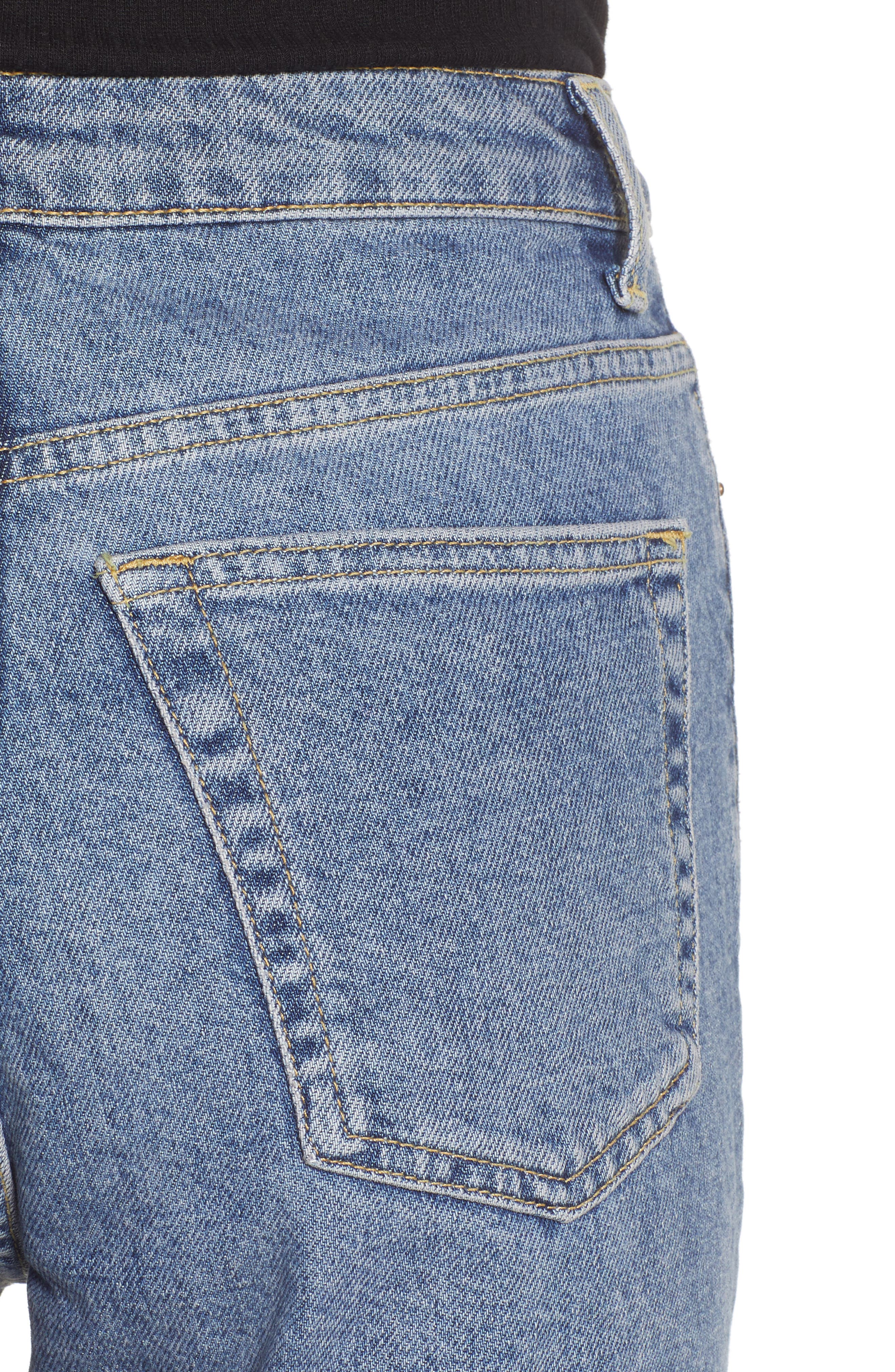 TOPSHOP, Raw Hem Straight Leg Jeans, Alternate thumbnail 5, color, MID BLUE