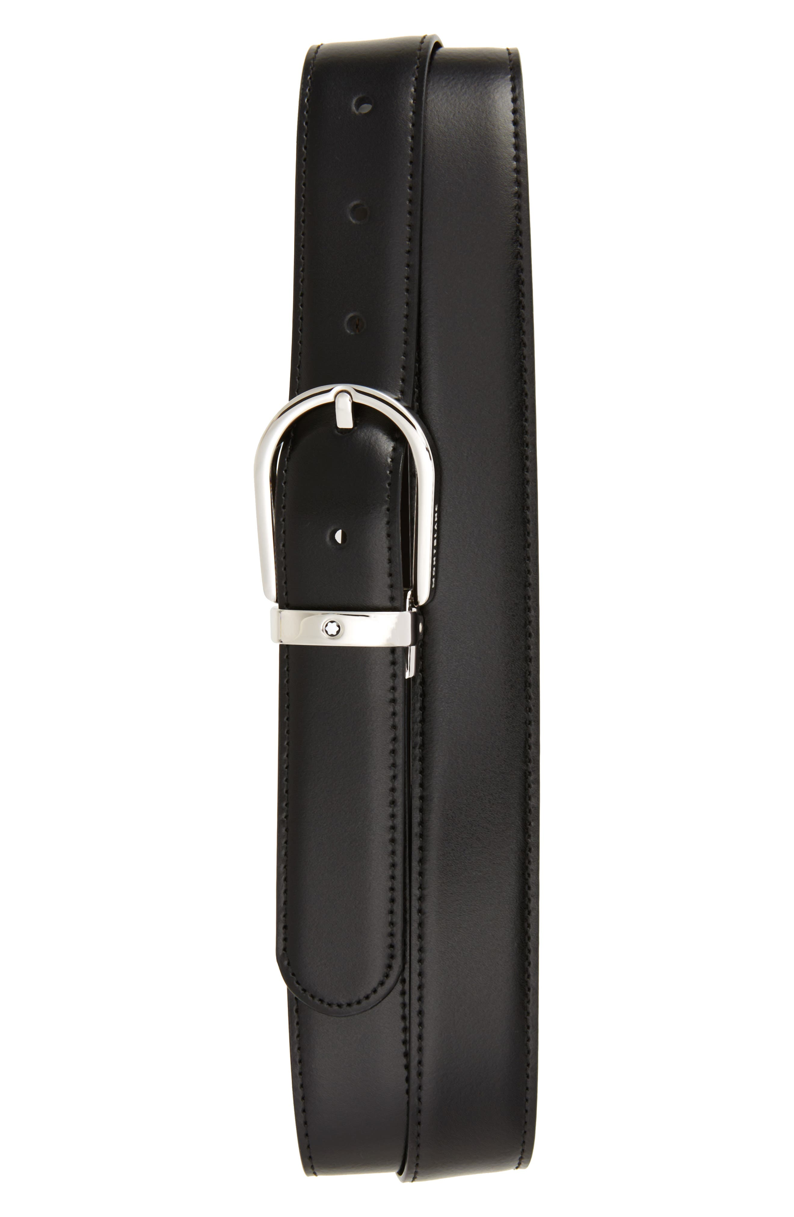 MONTBLANC, Horseshoe Buckle Reversible Leather Belt, Main thumbnail 1, color, BLACK/ BROWN