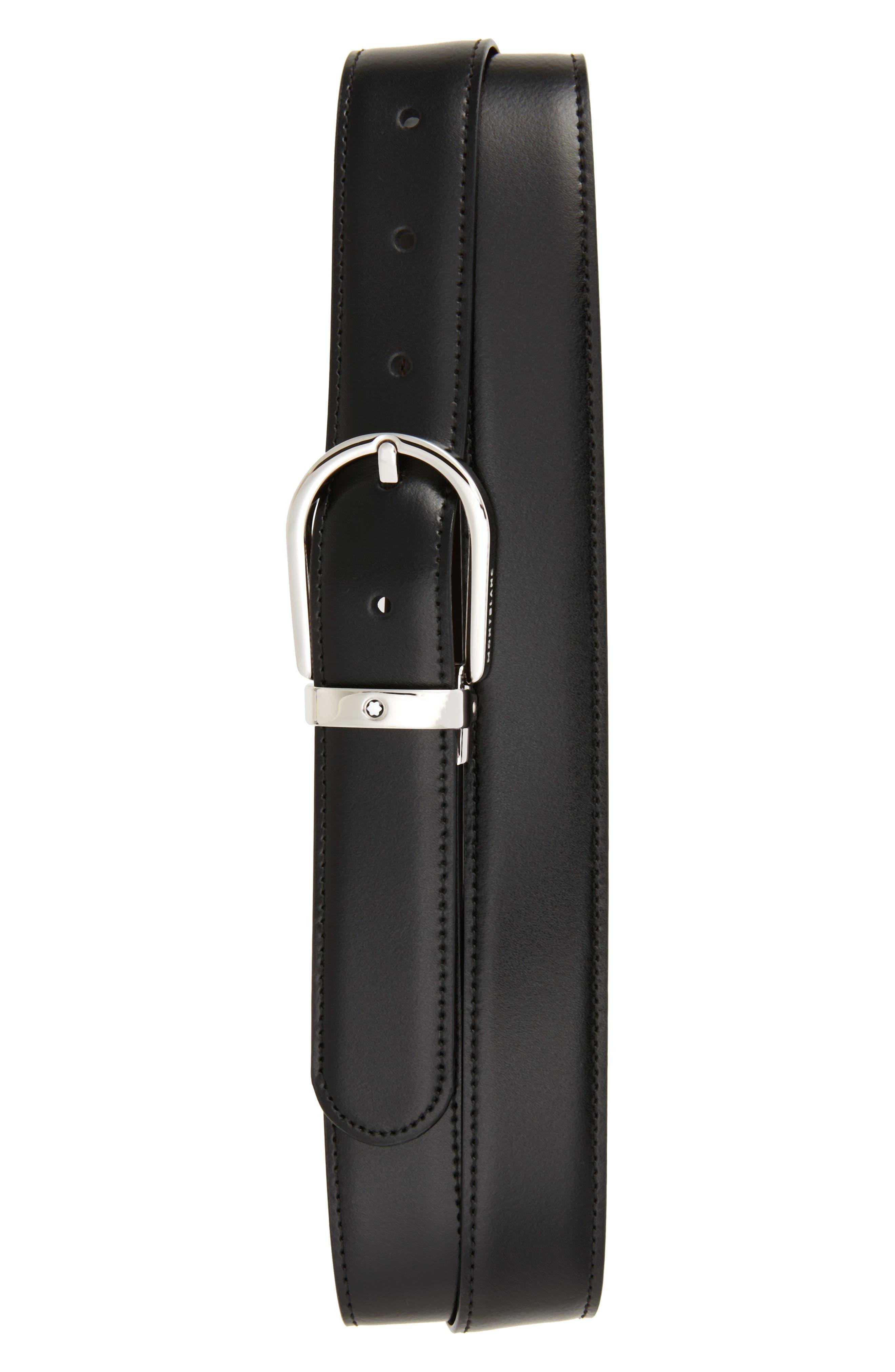 MONTBLANC Horseshoe Buckle Reversible Leather Belt, Main, color, BLACK/ BROWN