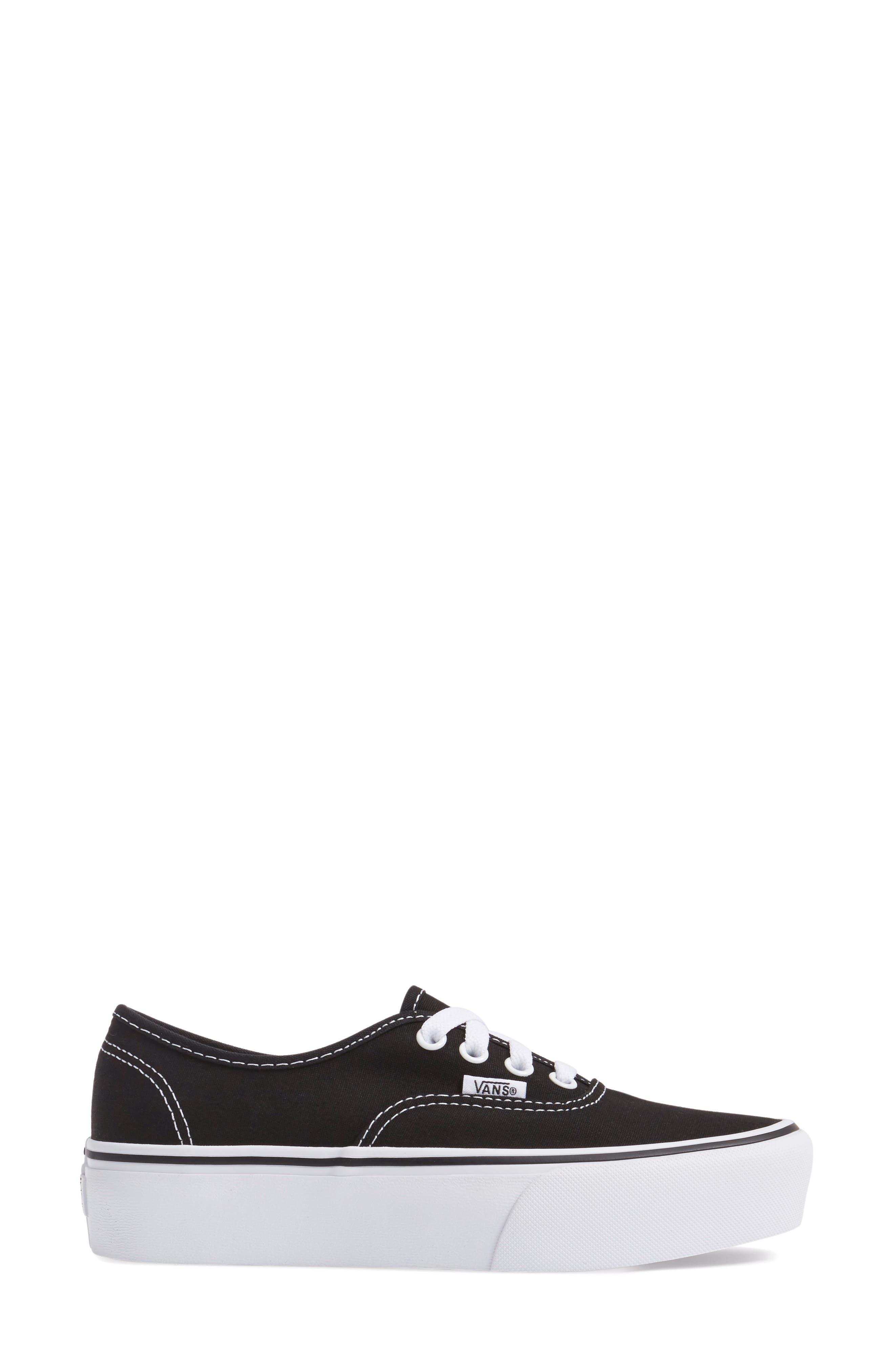 VANS, 'Authentic' Platform Sneaker, Alternate thumbnail 3, color, BLACK/ WHITE