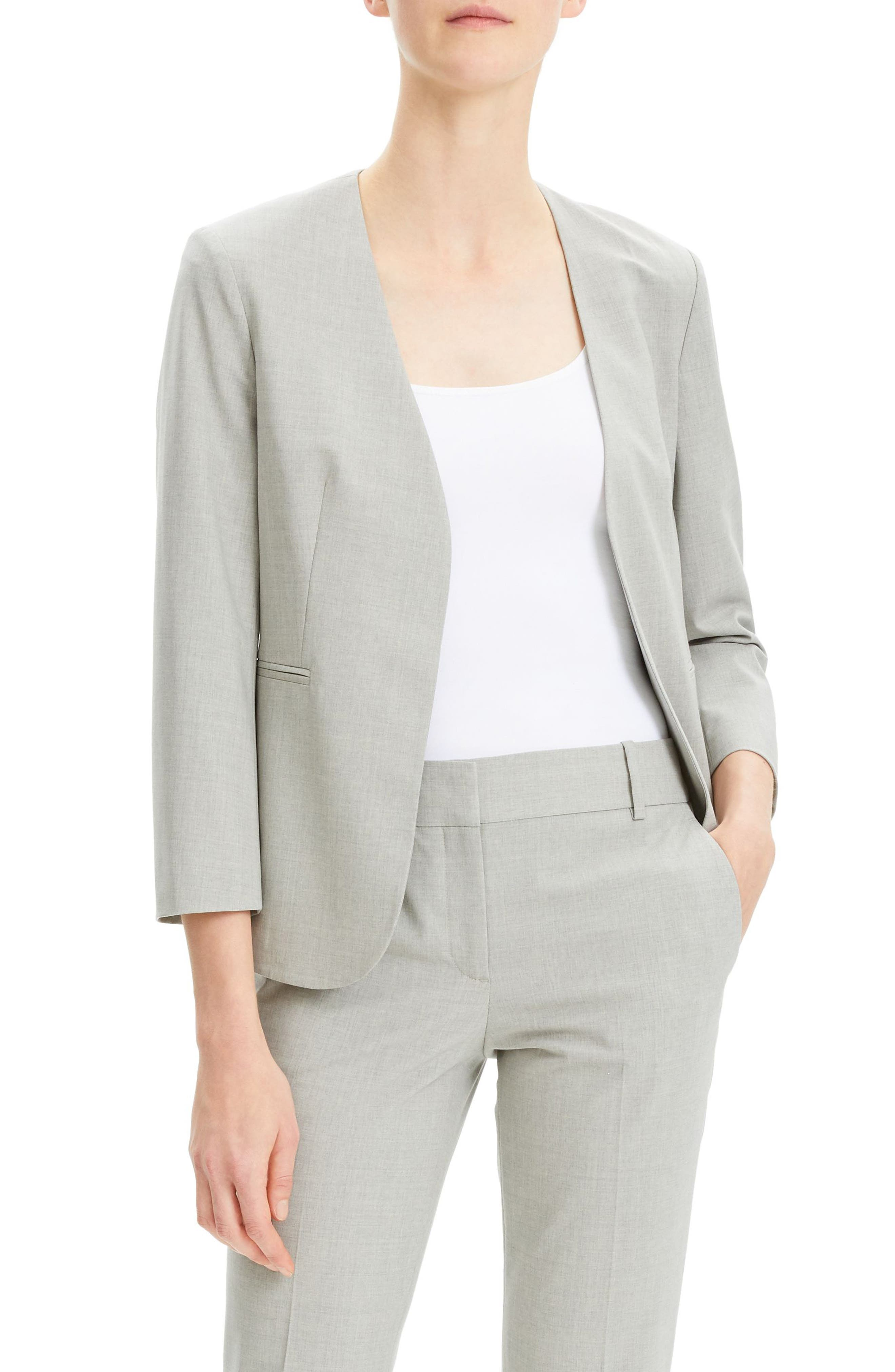 THEORY Lindrayia B Good Wool Suit Jacket, Main, color, LIGHT GREY MELANGE