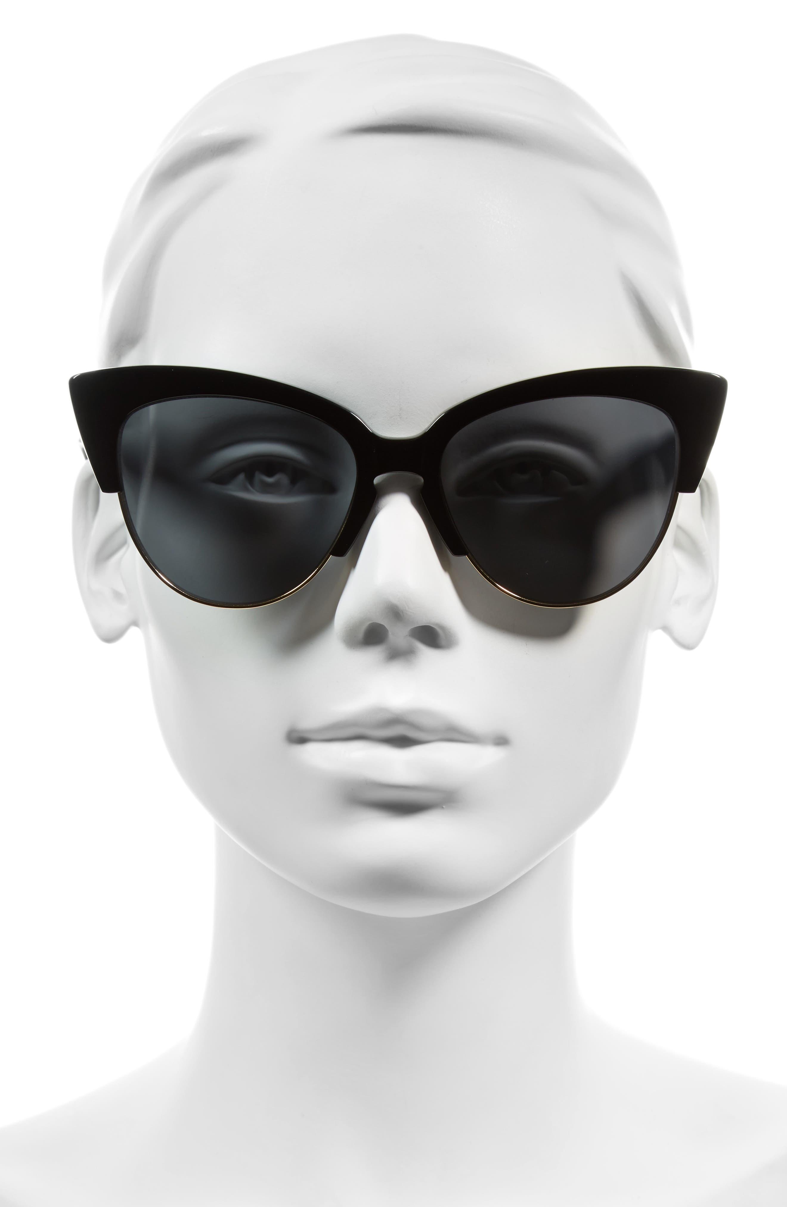 SONIX, Dafni 56mm Gradient Cat Eye Sunglasses, Alternate thumbnail 4, color, 001