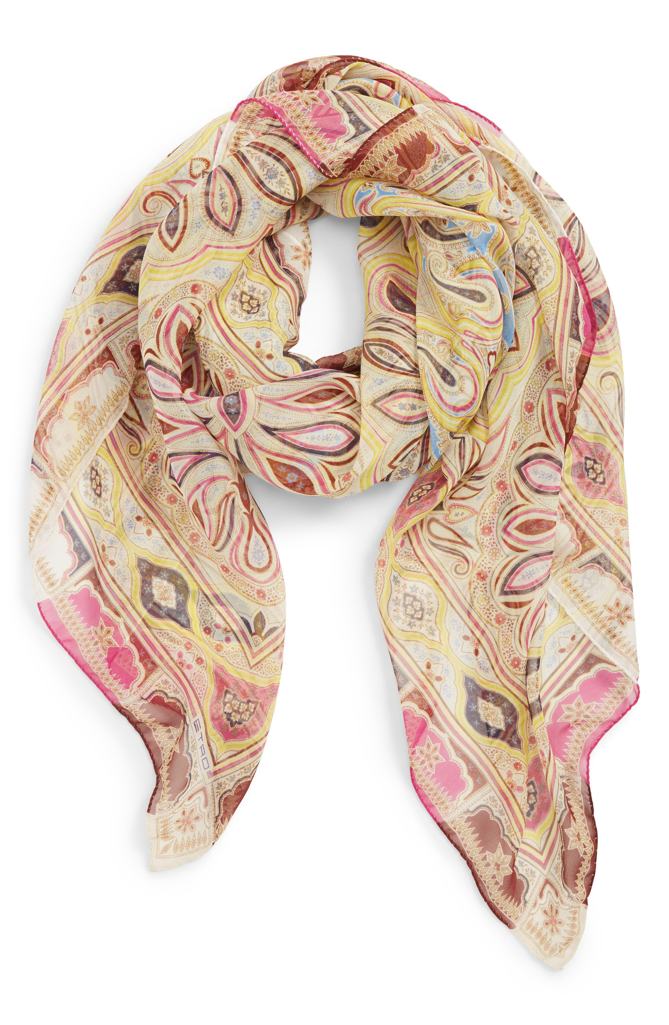 ETRO, Bombay Square Silk Scarf, Main thumbnail 1, color, RED