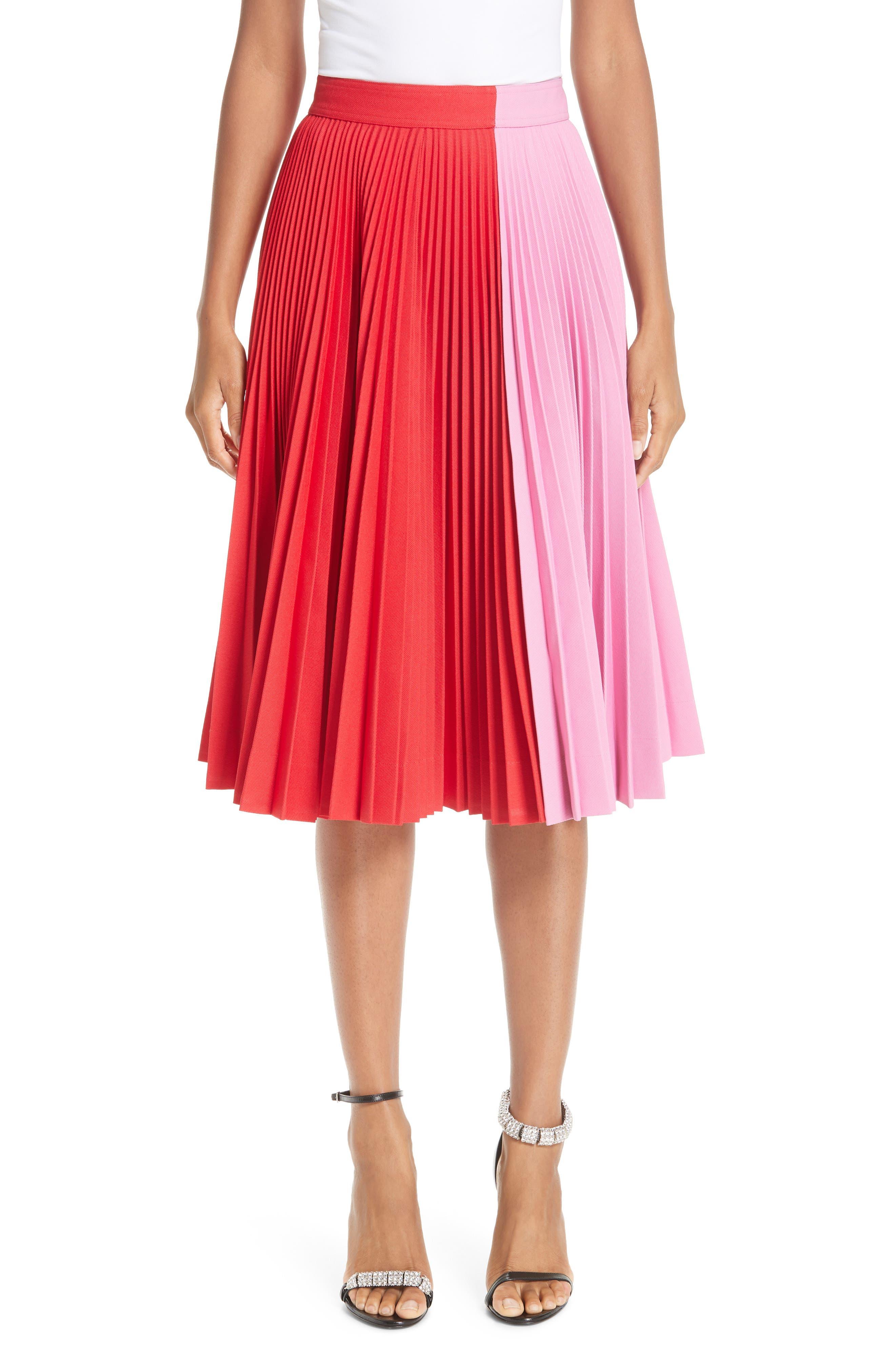CALVIN KLEIN 205W39NYC, Bicolor Pleated Skirt, Main thumbnail 1, color, SCARLET ANEMONE