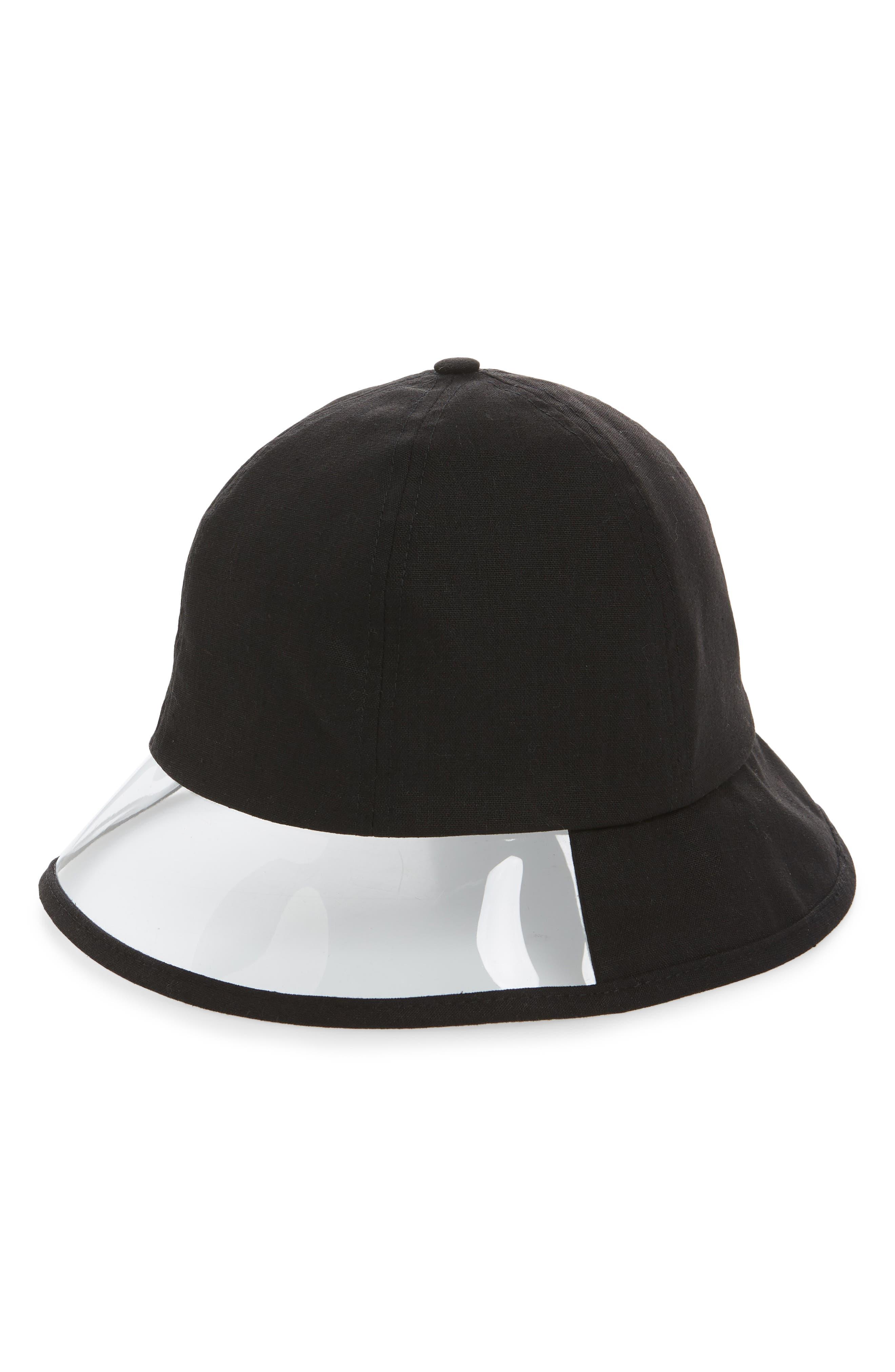 STEVE MADDEN, Transparent Panel Canvas Bucket Hat, Main thumbnail 1, color, BLACK