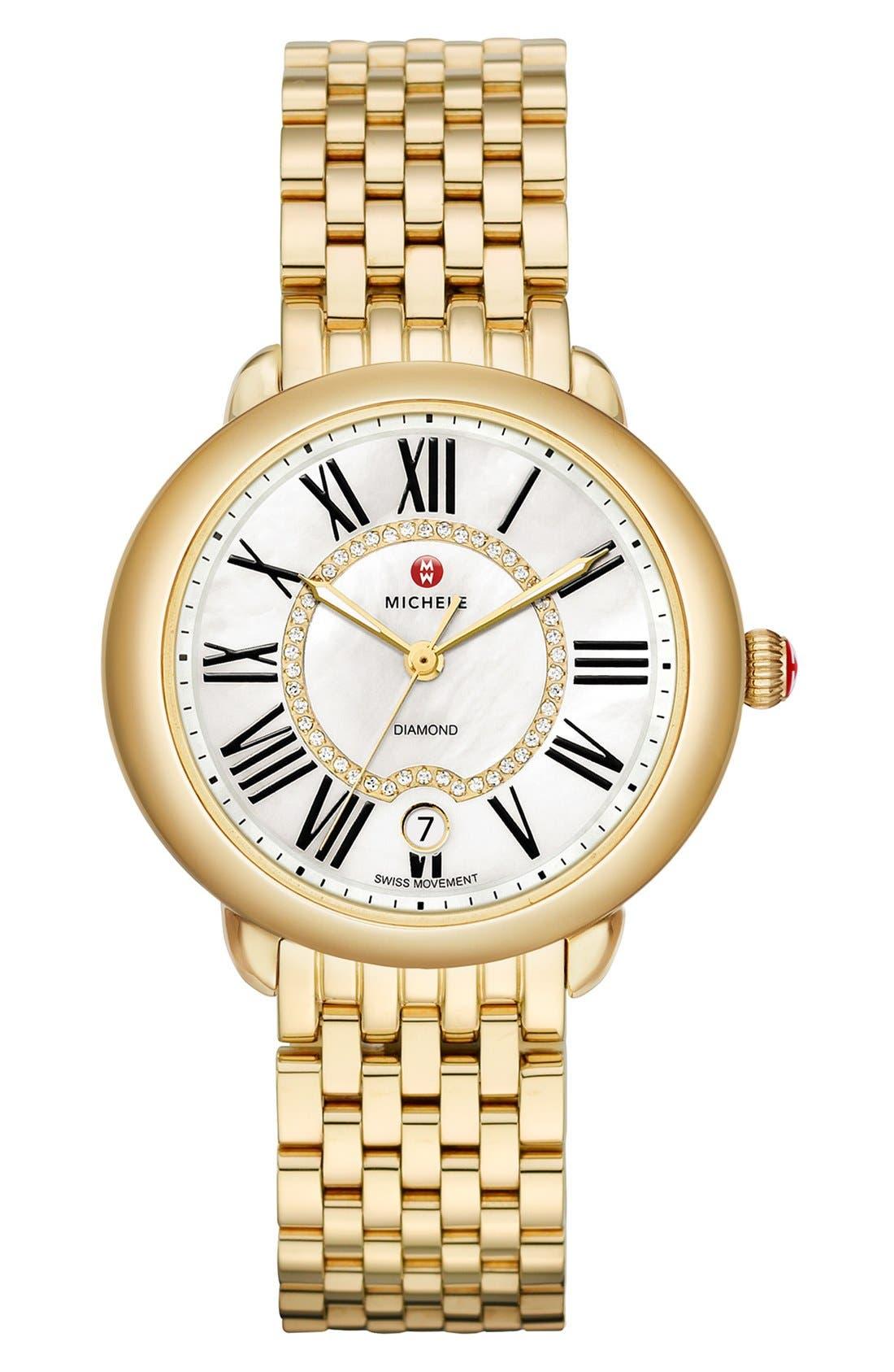 MICHELE, Serein 16 Diamond Dial Watch Head, 34mm x 36mm, Alternate thumbnail 4, color, GOLD