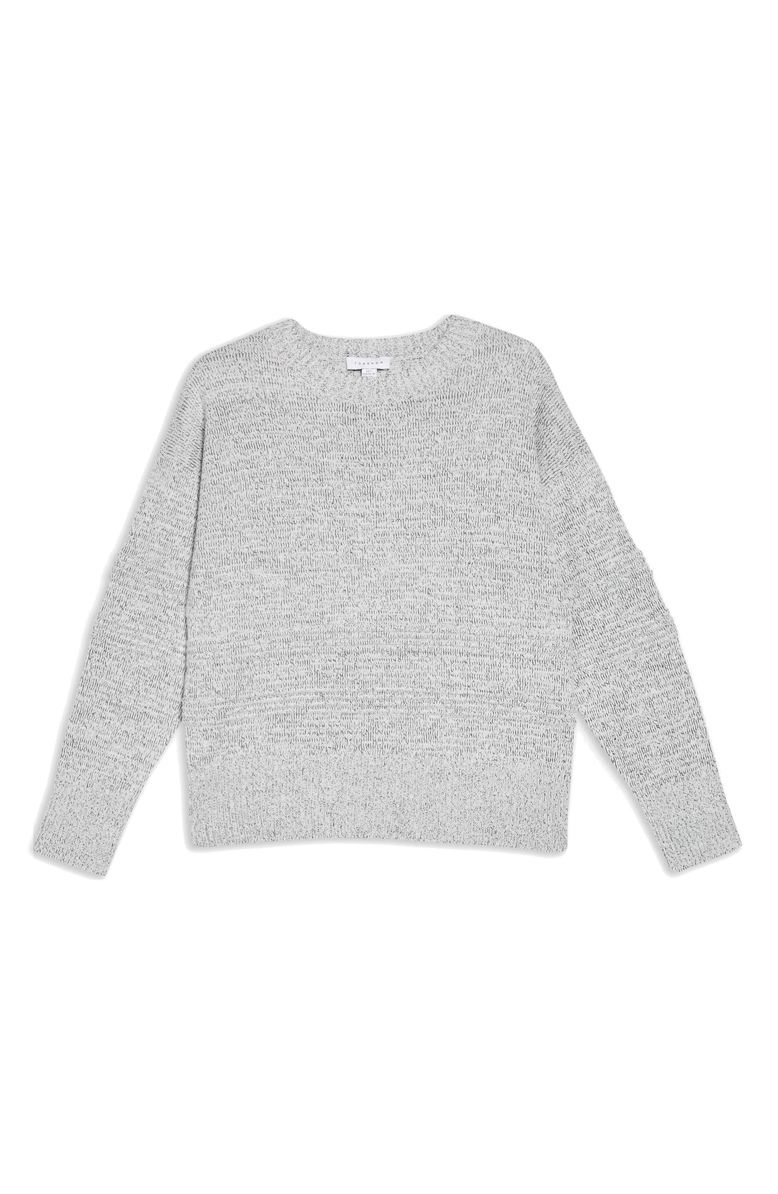 TOPSHOP, Ottoman Stitch Sweater, Alternate thumbnail 3, color, GREY MARL