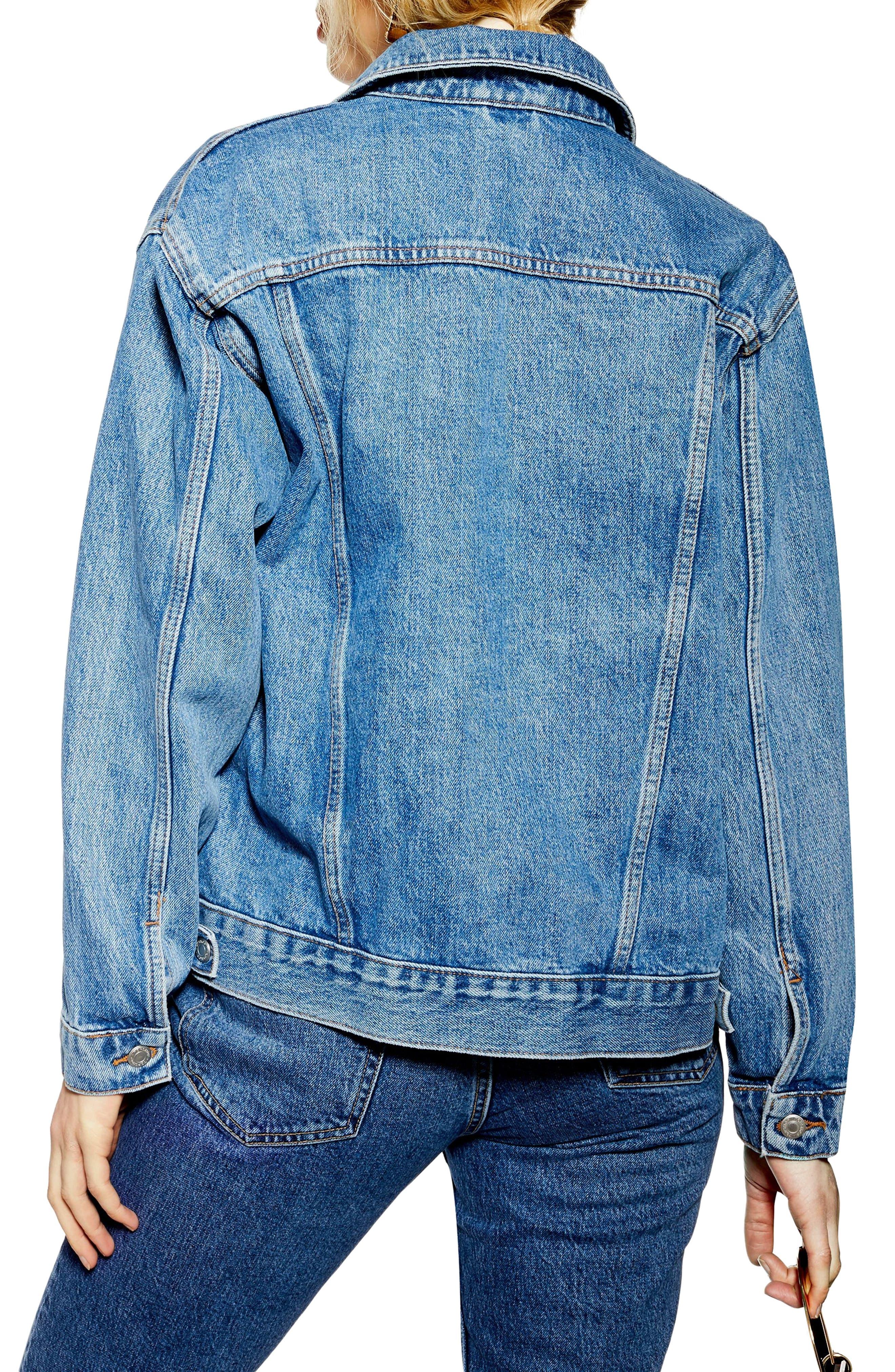 TOPSHOP, Oversized Denim Jacket, Alternate thumbnail 2, color, MID DENIM