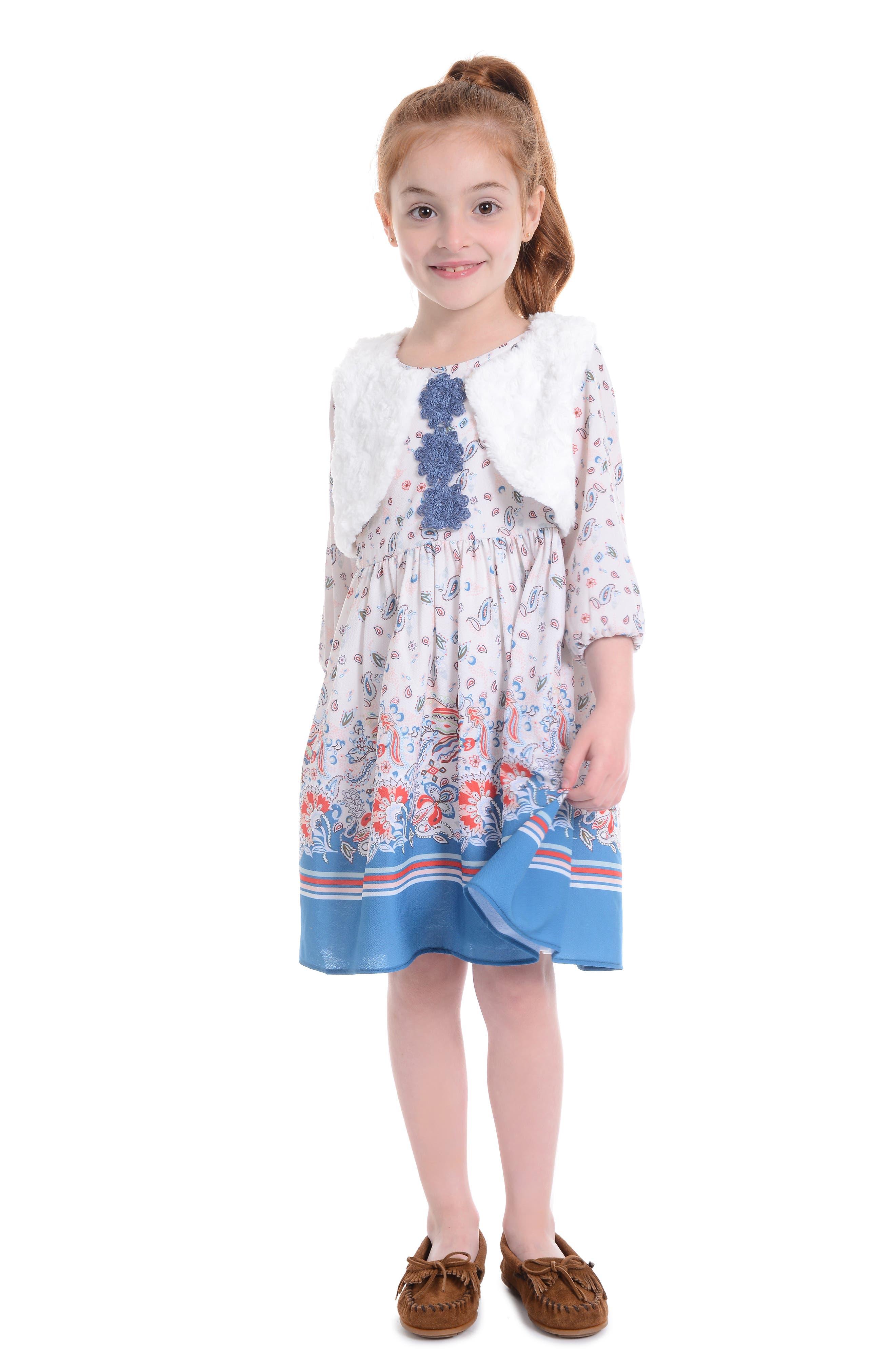 PIPPA & JULIE, Boho Paisley Dress & Faux Fur Vest Set, Alternate thumbnail 5, color, 900
