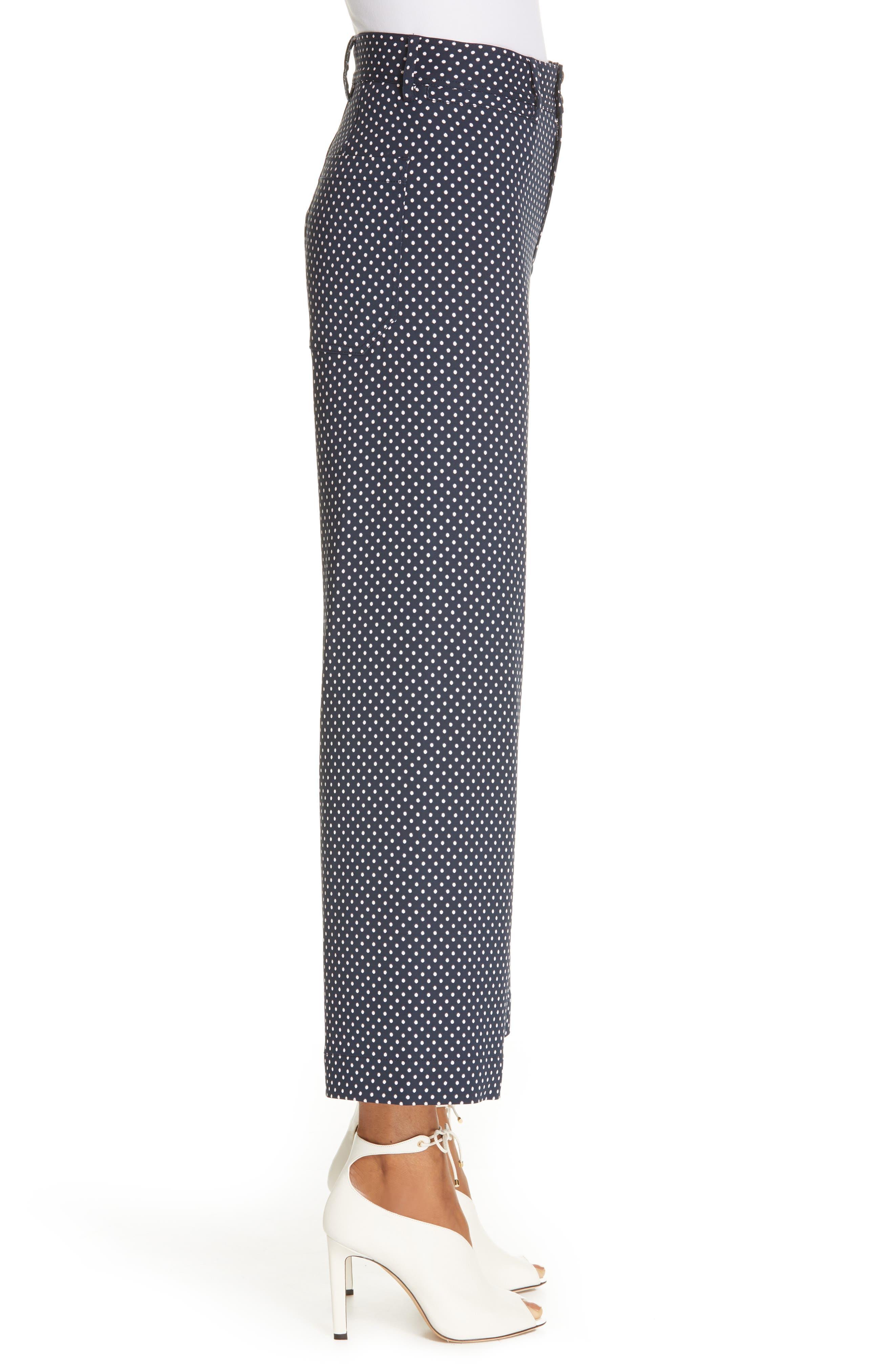 REBECCA TAYLOR, Dot Wide Leg Ankle Pants, Alternate thumbnail 3, color, 482
