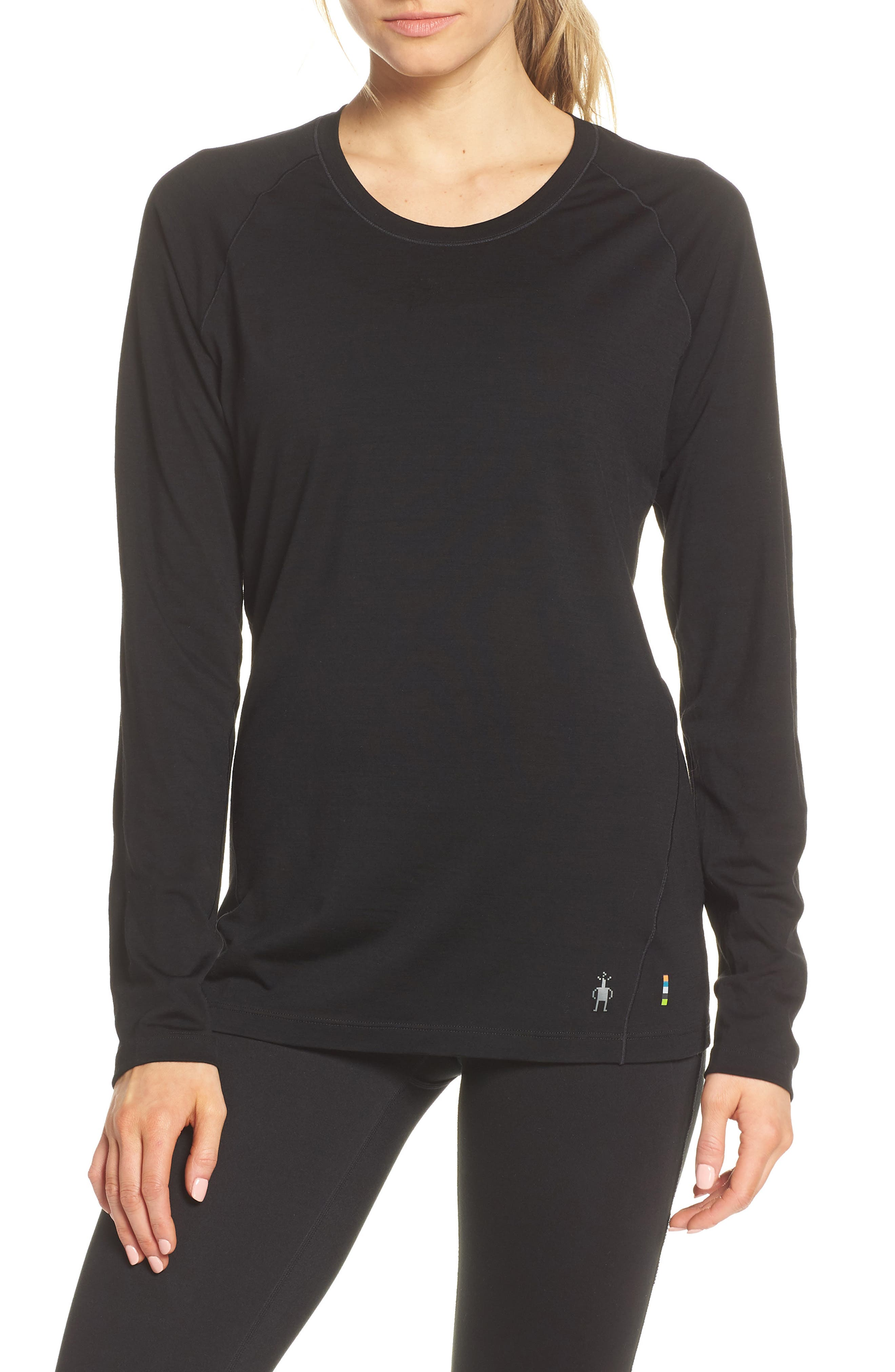 SMARTWOOL Merino Wool 150 Base Layer Top, Main, color, BLACK