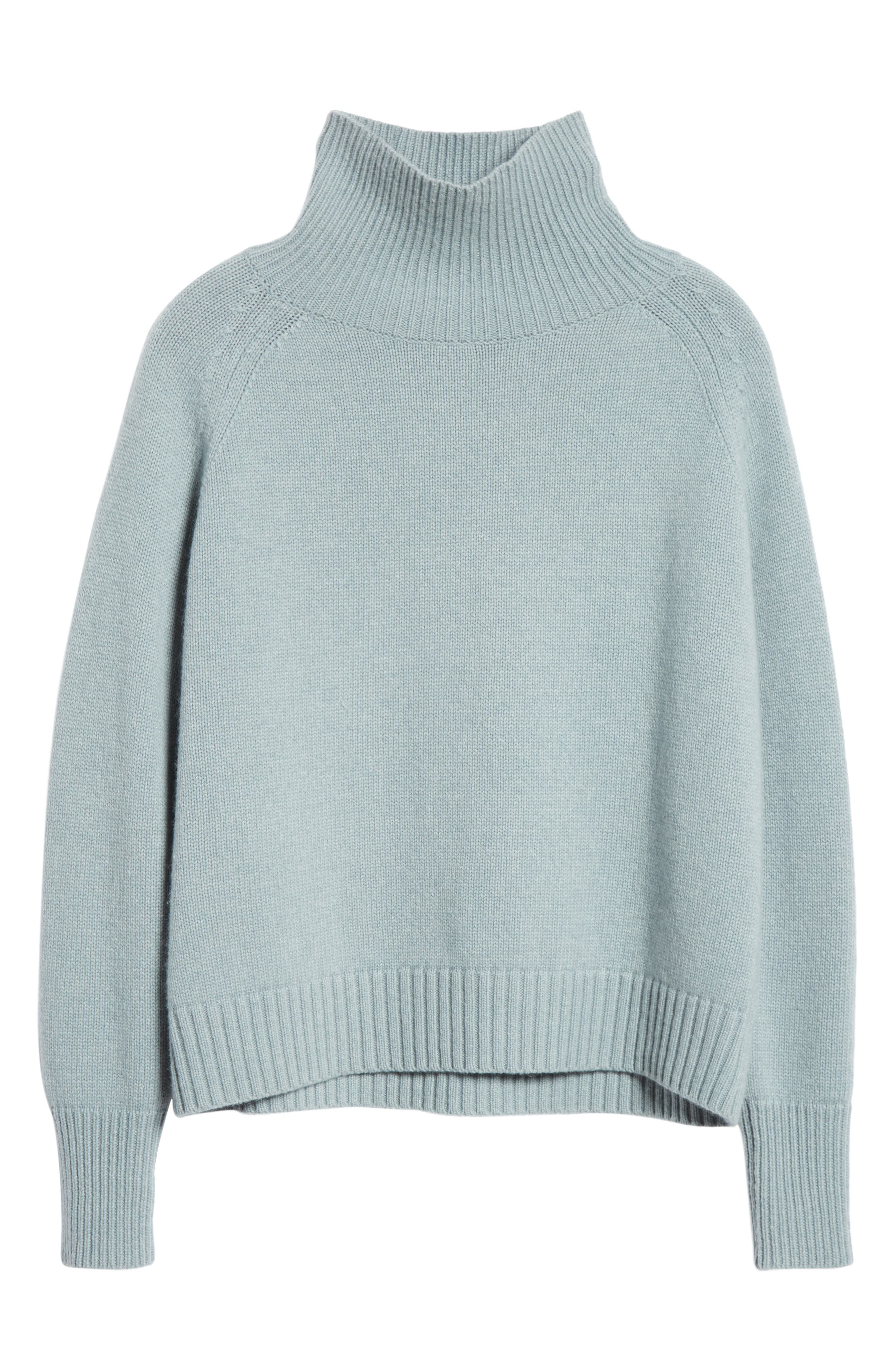 NILI LOTAN, Mariah Funnel Neck Cashmere Sweater, Alternate thumbnail 6, color, SKY BLUE